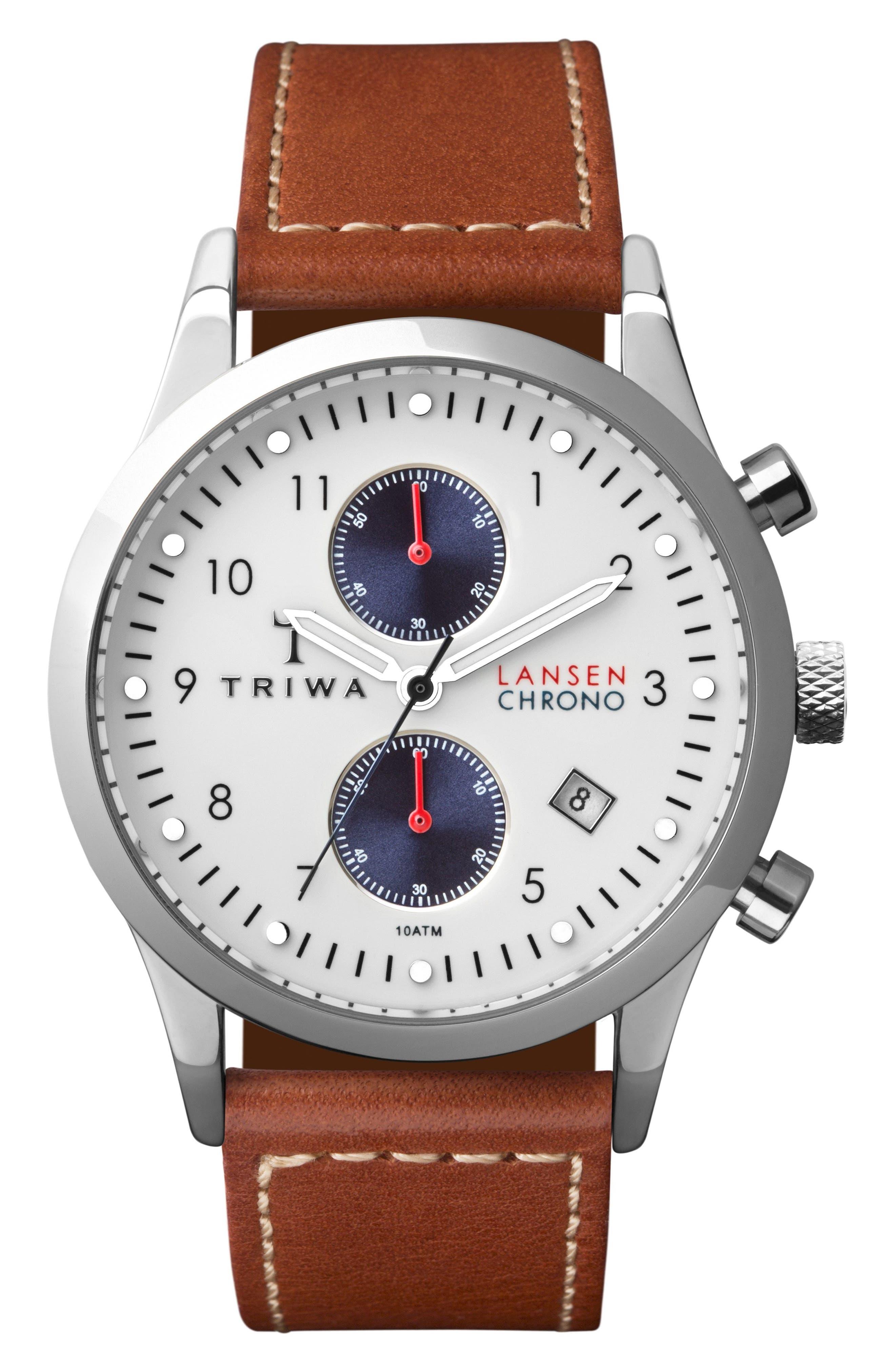 TRIWA Lansen Chronograph Leather Strap Watch, 38mm