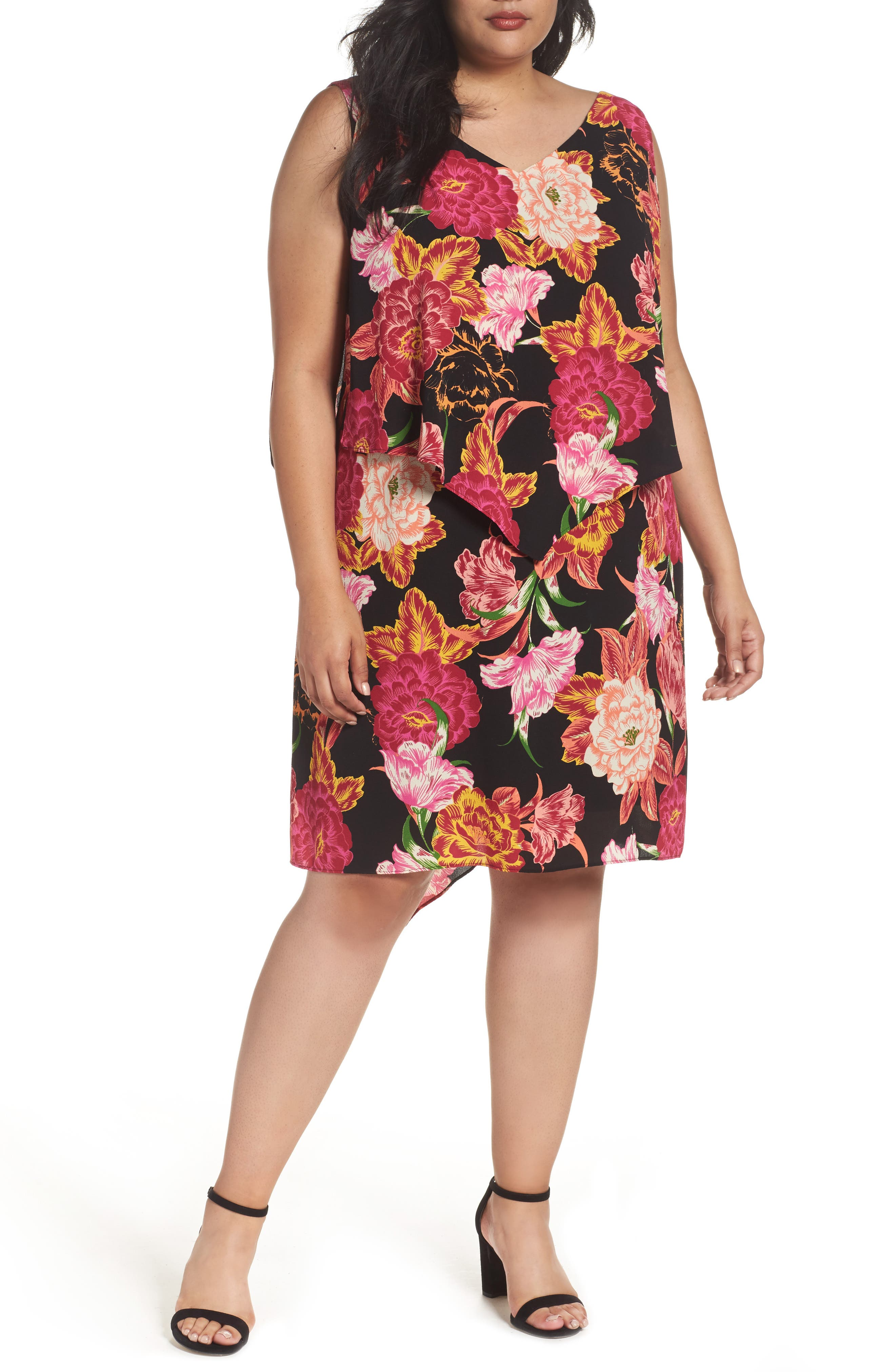 Tahari Fly Away Tiered Floral Print Shift Dress (Plus Size)