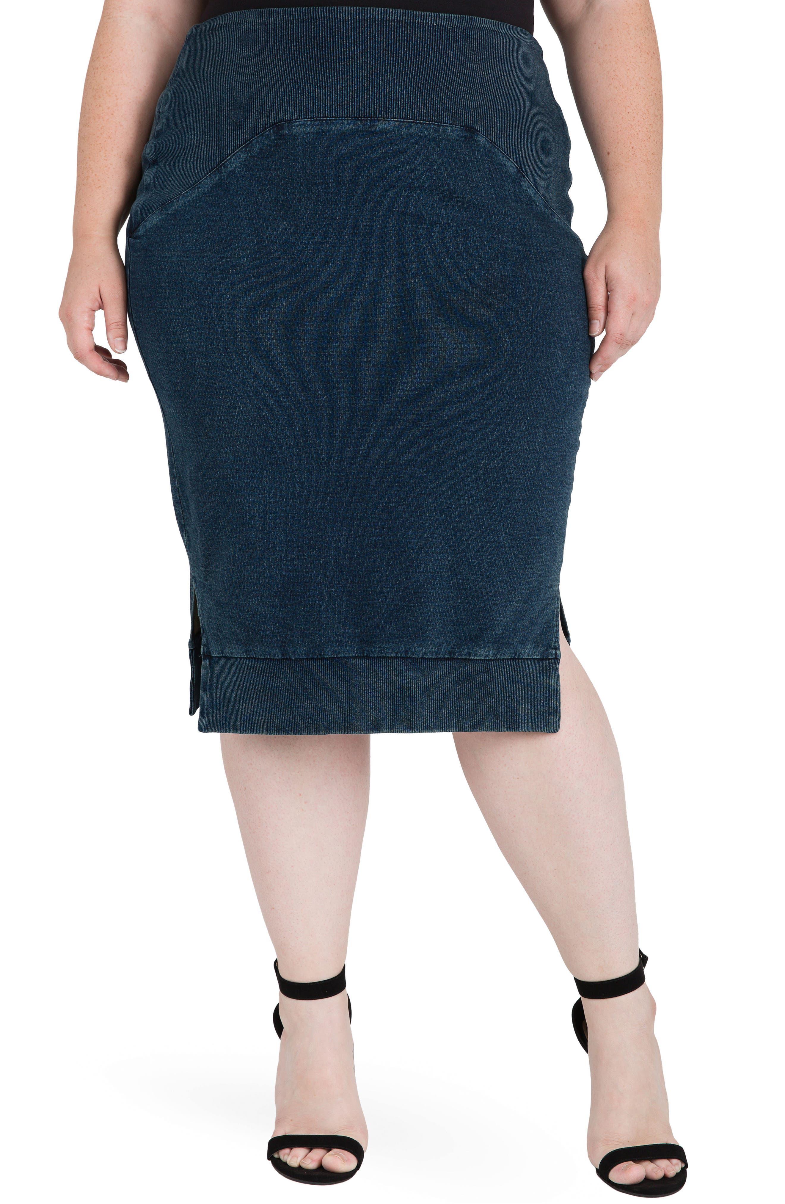 Standards & Practices Kelly Side Slit Knit Pencil Skirt (Plus Size)