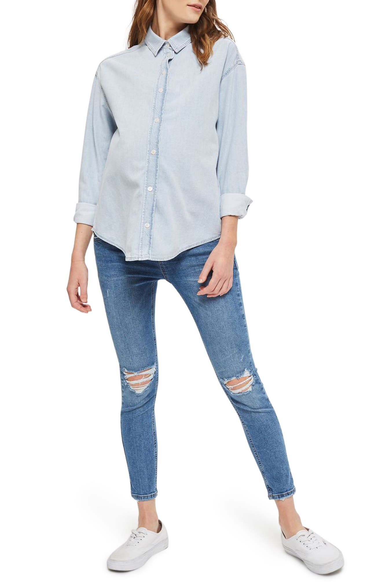 Topshop Elton Bleach Denim Maternity Shirt