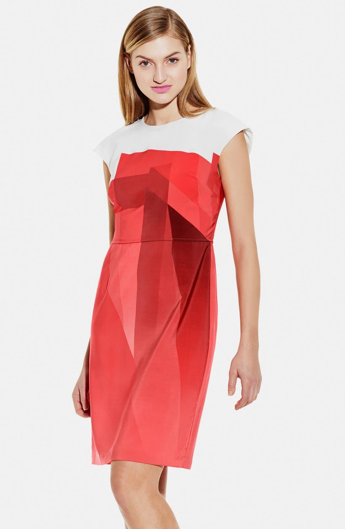 Main Image - Vince Camuto Contrast Yoke Ombré Print Sheath Dress (Regular & Petite)