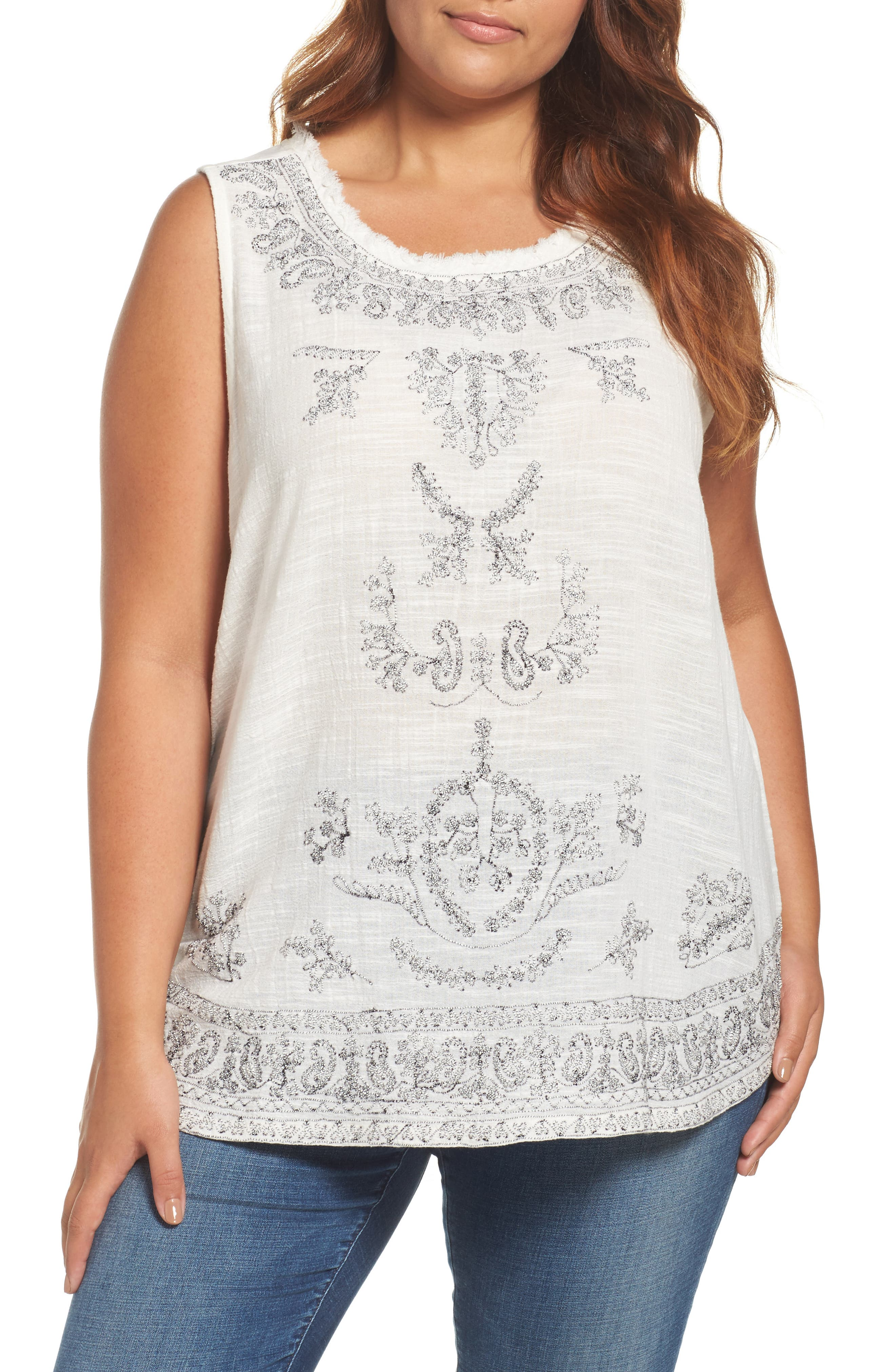 Lucky Brand Embroidered Woven & Knit Tank (Plus Size)