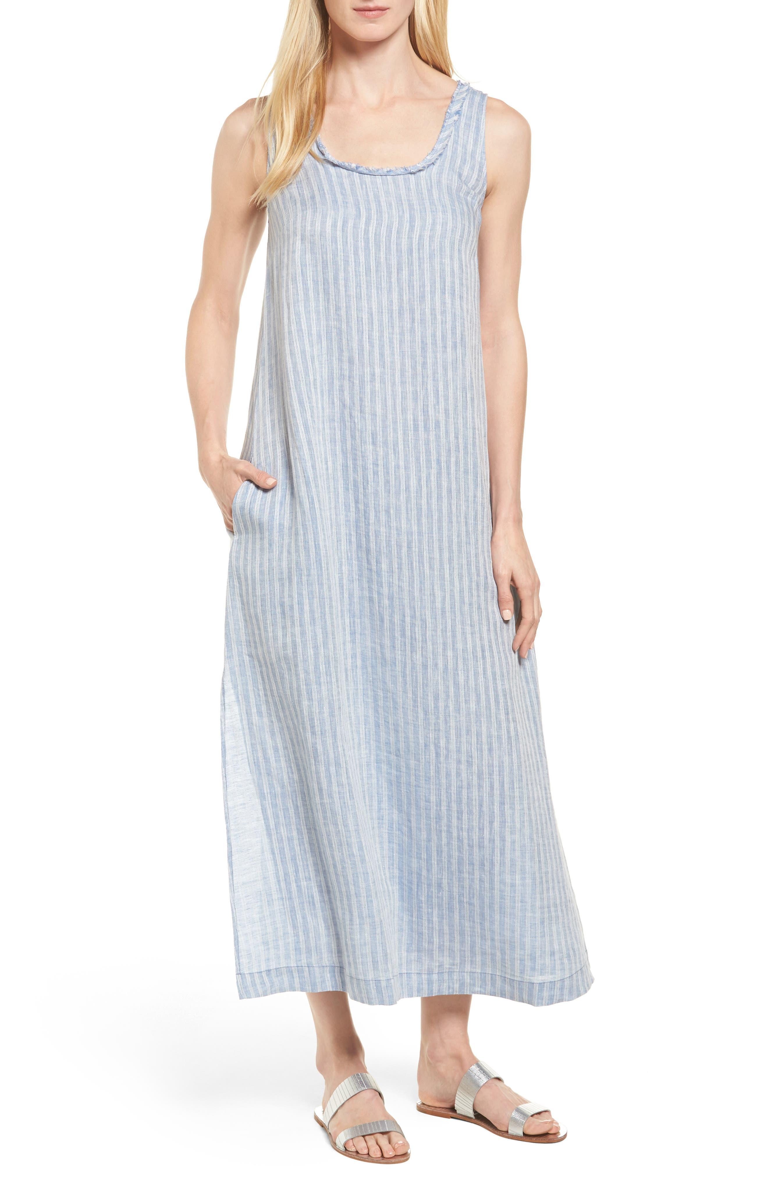 Caslon® Stripe Linen Maxi Dress (Regular & Petite)