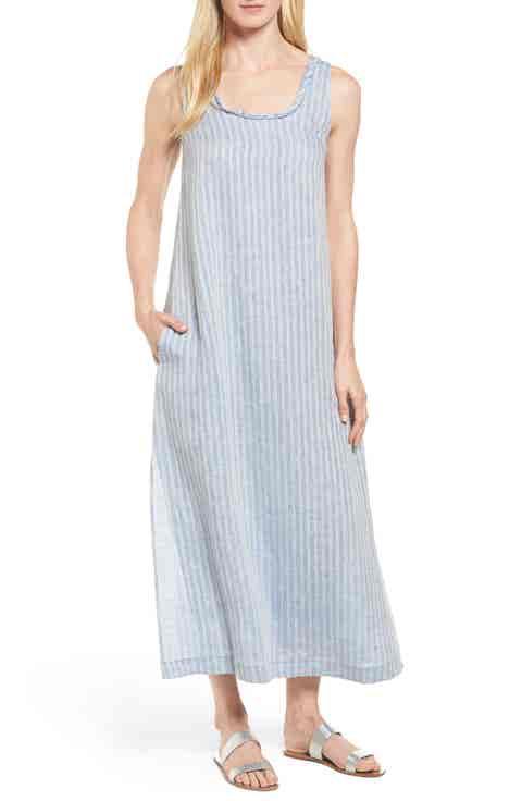 Caslon® Stripe Linen Maxi Dress (Regular   Petite)