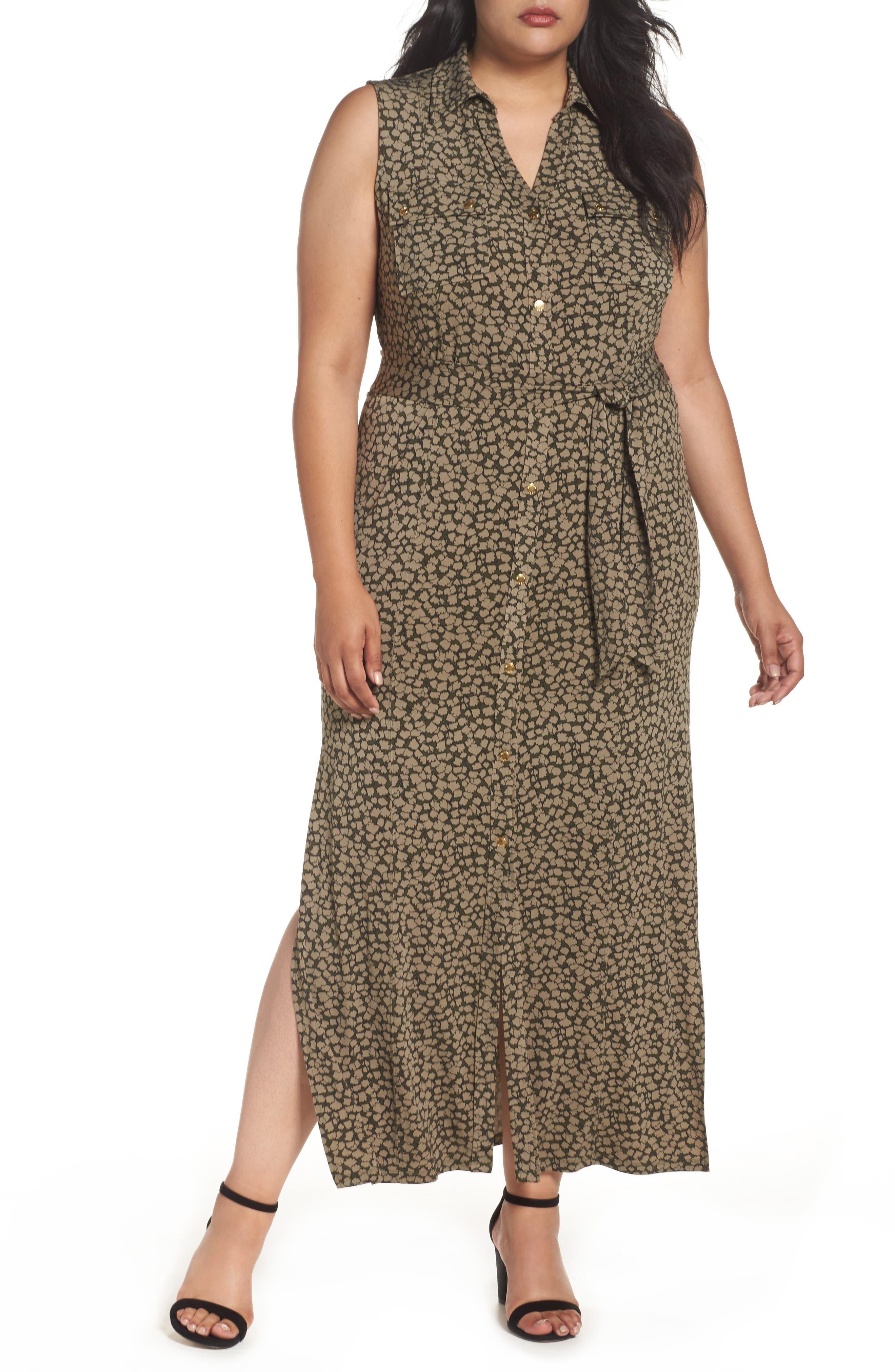 MICHAEL Michael Kors Finley Maxi Shirtdress (Plus Size)