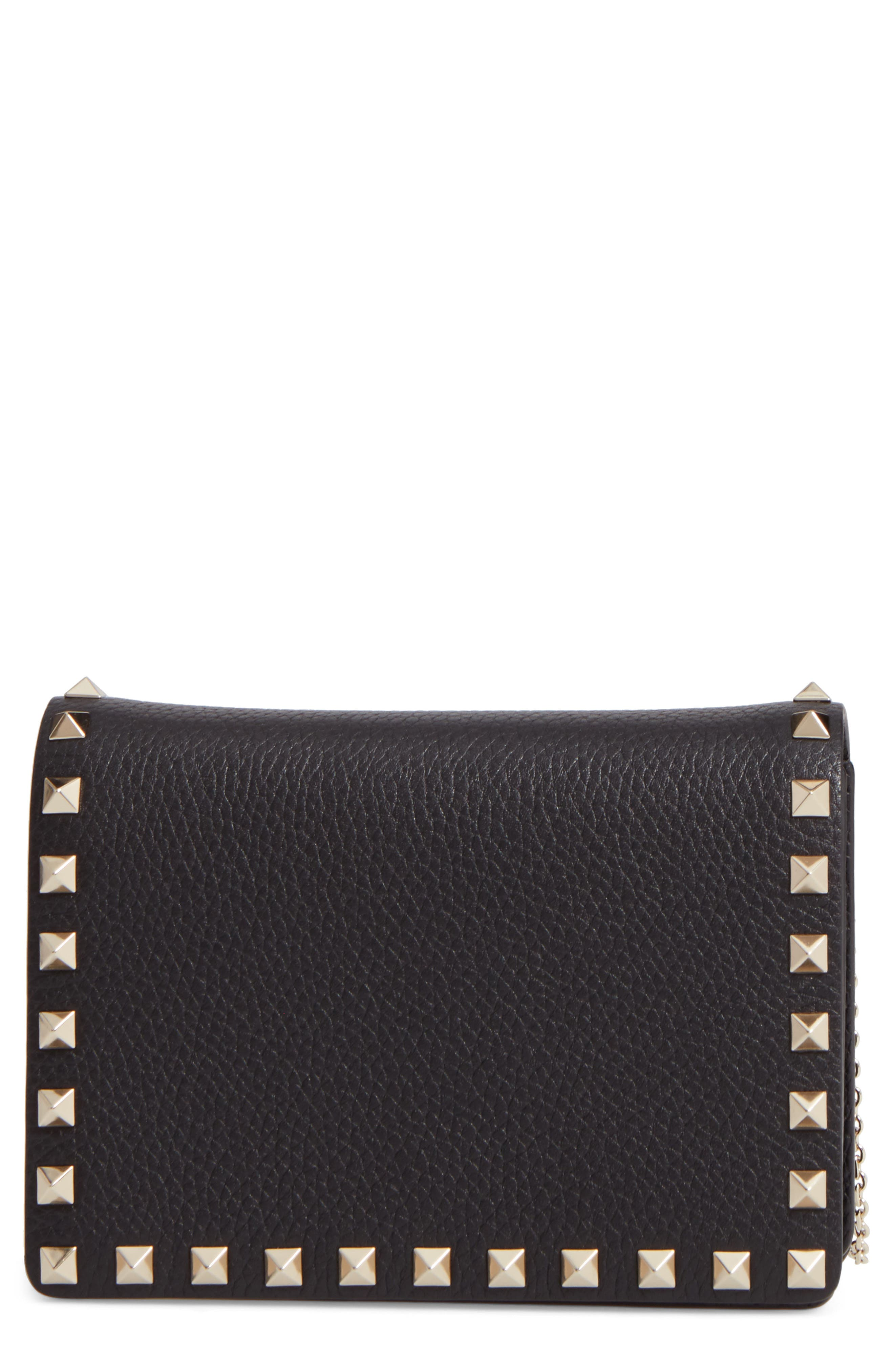 VALENTINO GARAVANI Mini Rockstud Leather Wallet on a Chain