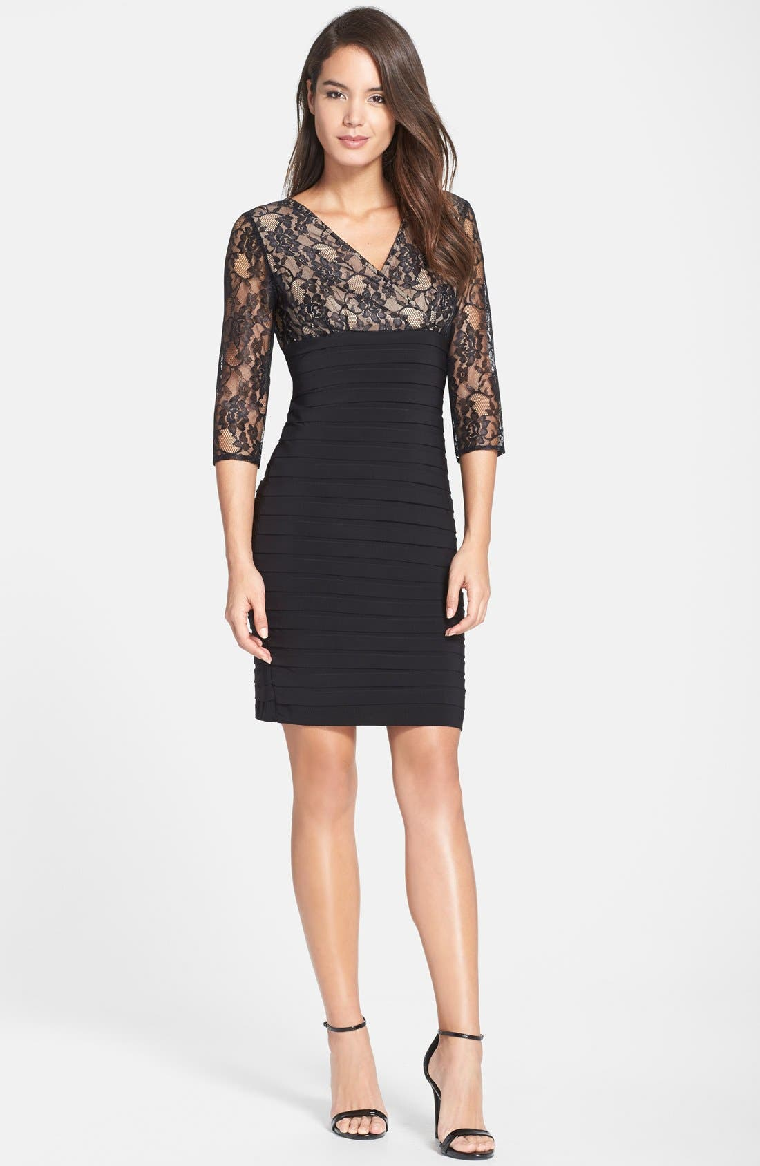 Alternate Image 3  - Adrianna Papell Lace Bodice Banded Sheath Dress (Regular & Petite)