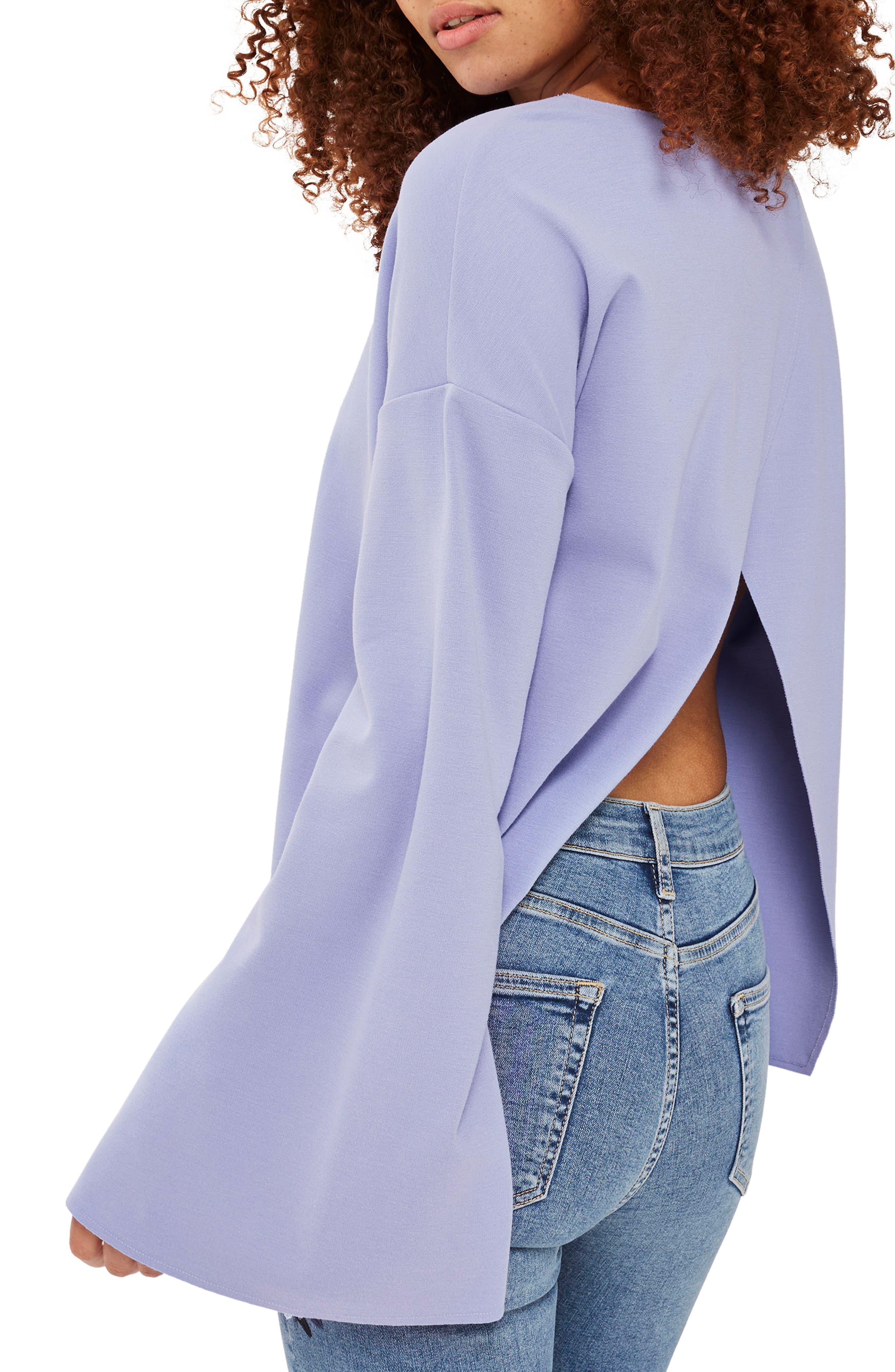 Alternate Image 2  - Topshop Split Back Bell Sleeve Sweatshirt