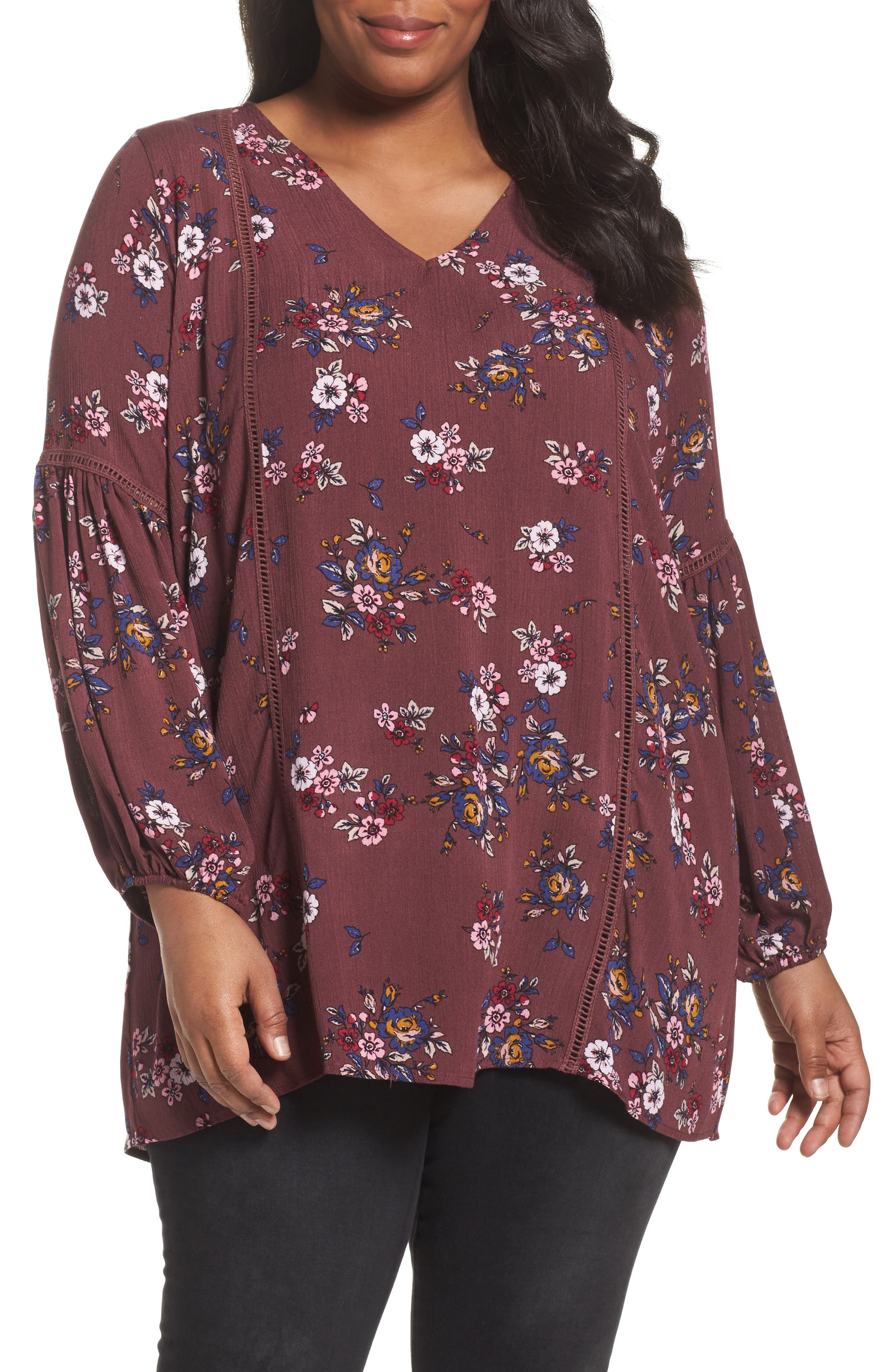 Sejour Floral Bell Sleeve Tunic (Plus Size)