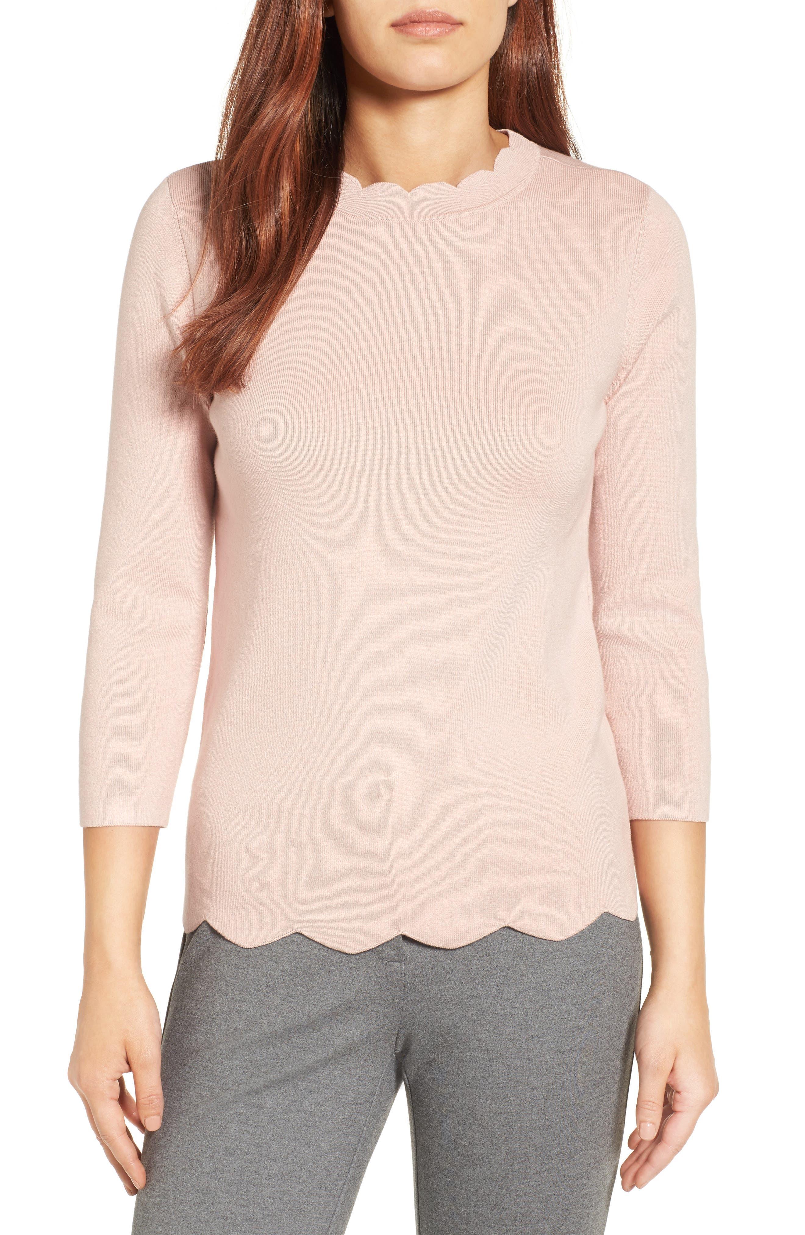 Alternate Image 1 Selected - Halogen Scallop Edge Sweater (Regular & Petite)