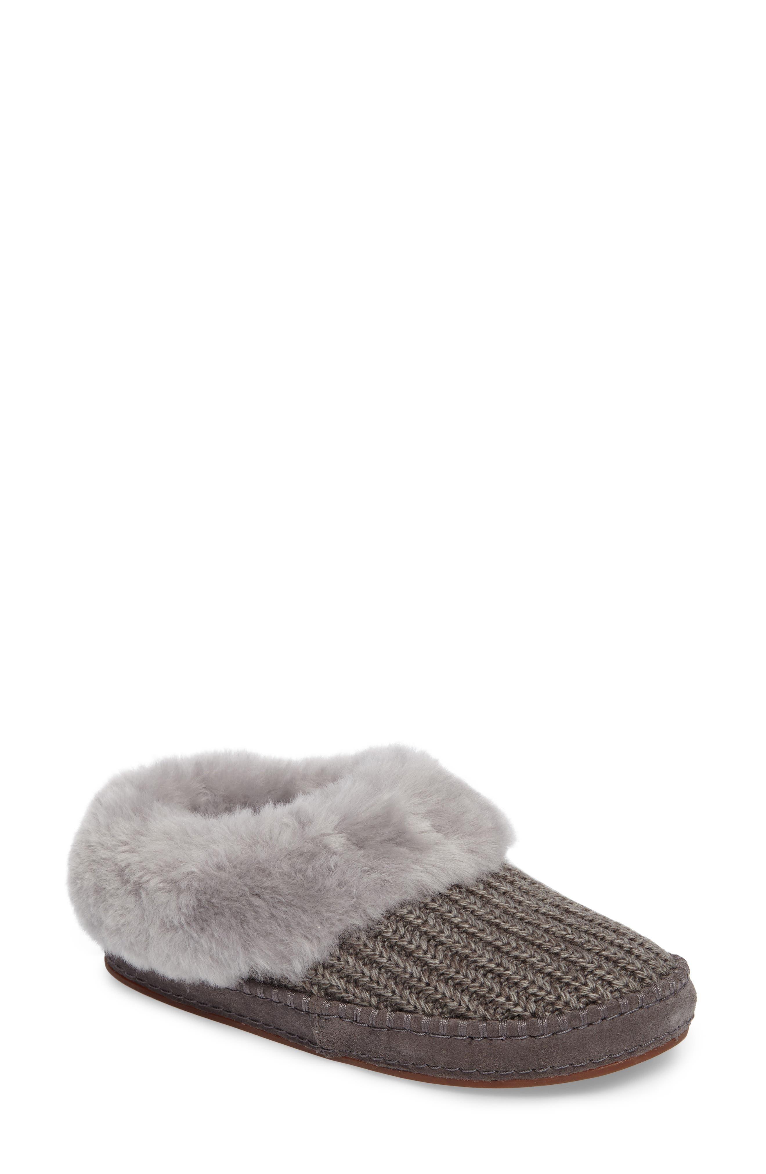 Main Image - UGG® Wrin Rib-Knit & Genuine Shearling Slipper (Women)