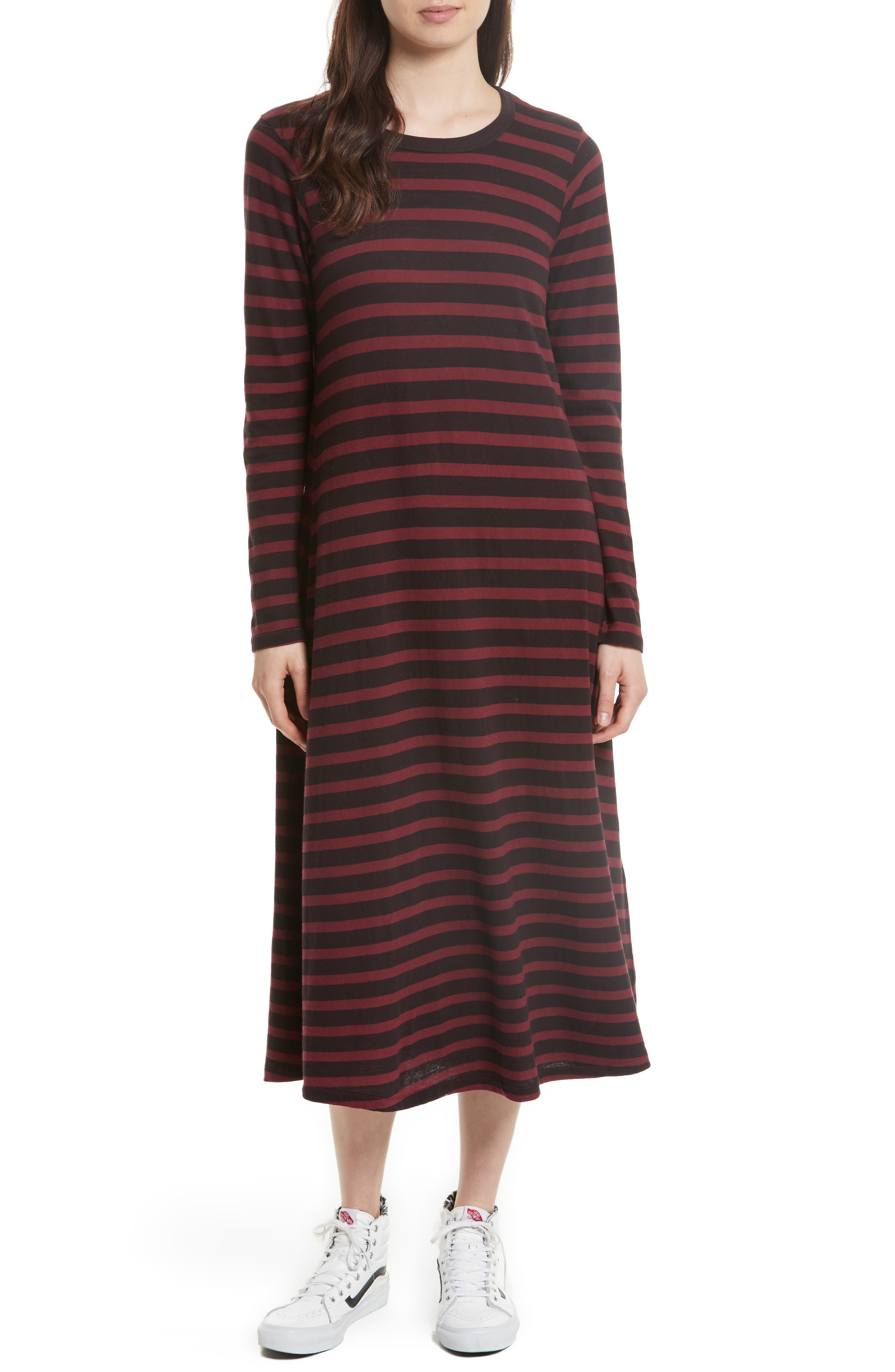 THE GREAT. The Swing Stripe Midi Dress