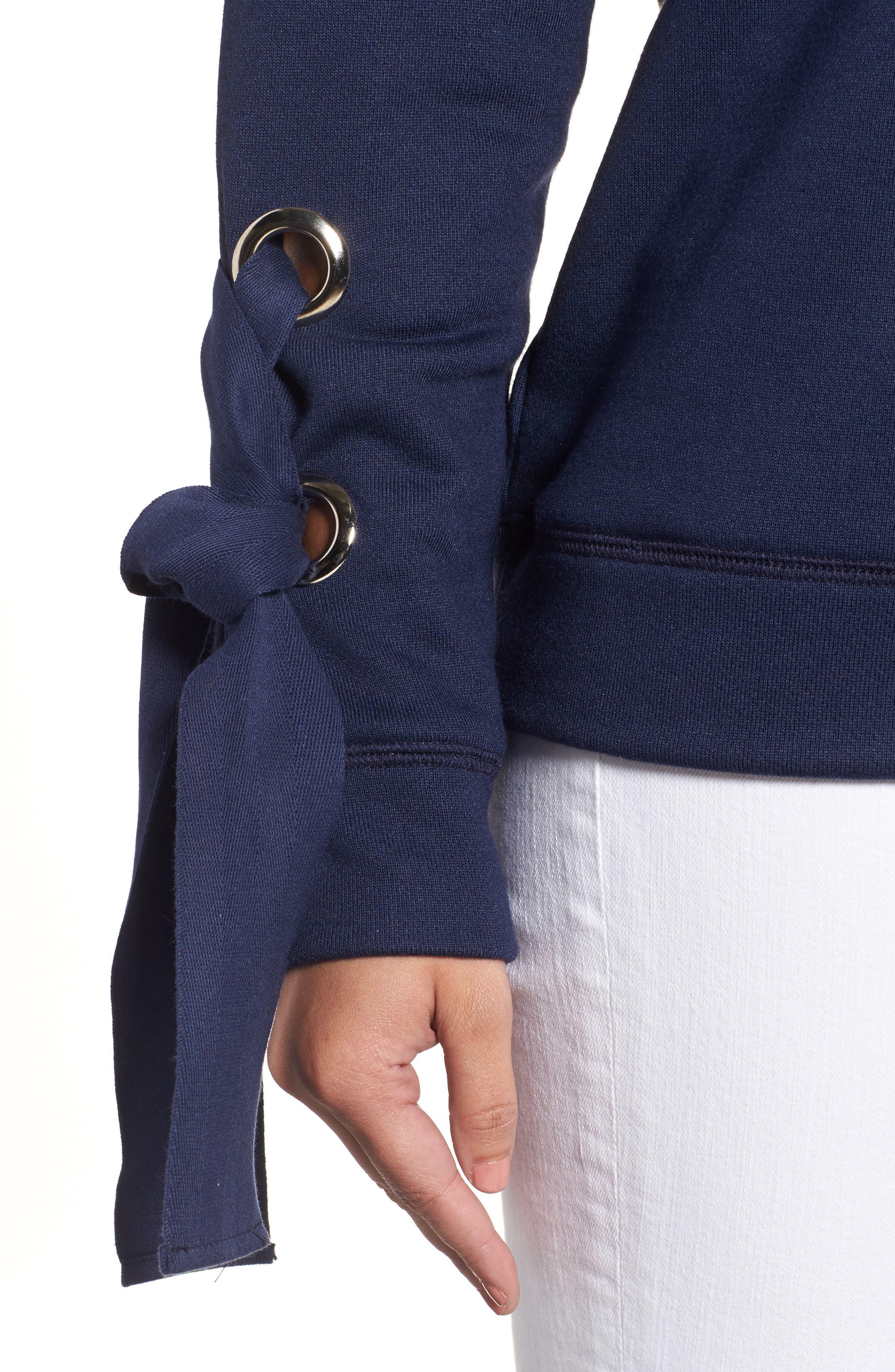 Alternate Image 4  - Halogen® Tie Sleeve Sweatshirt (Regular & Petite)