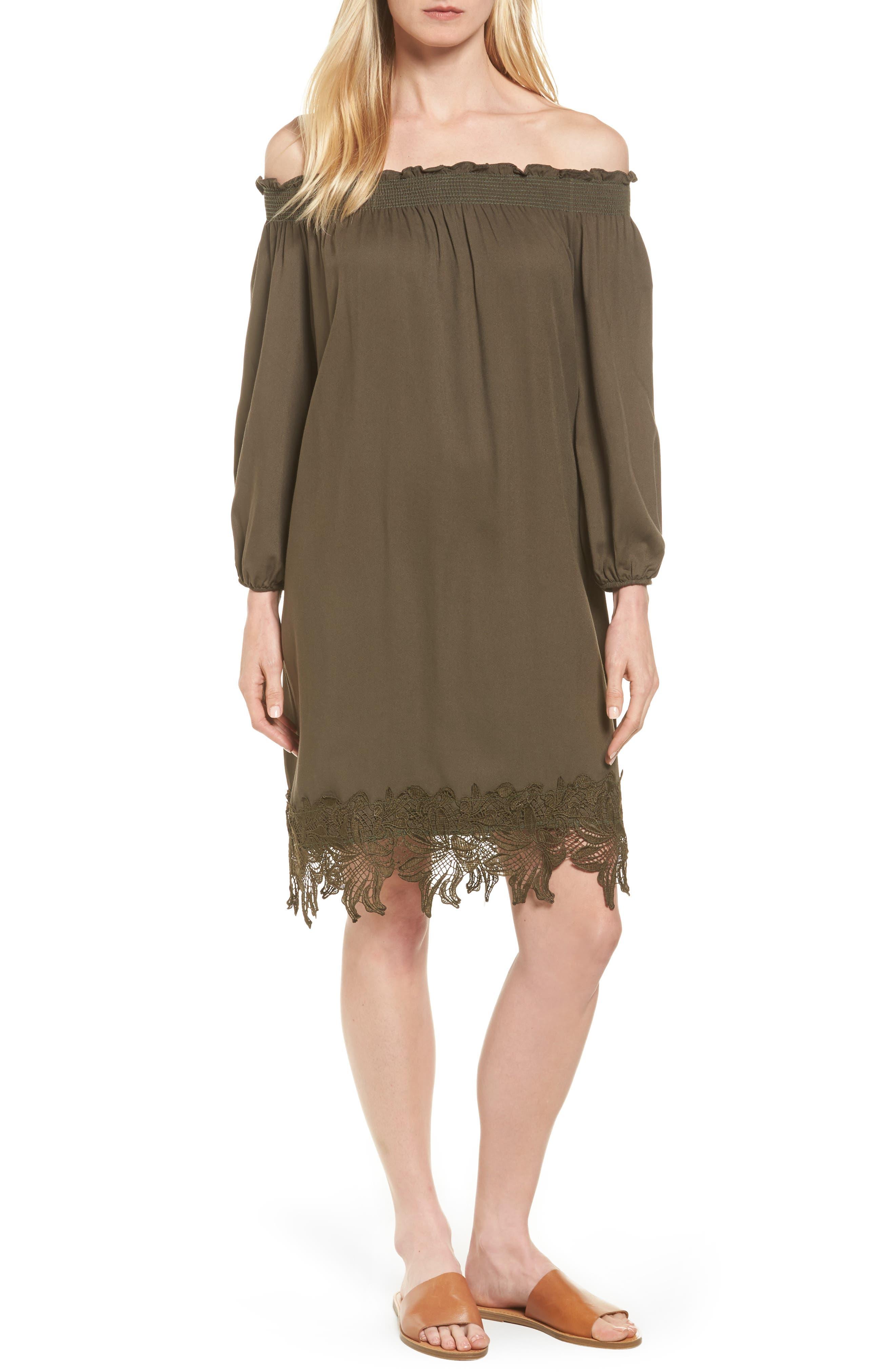 Halogen® Lace Hem Off the Shoulder Shift Dress (Regular & Petite)