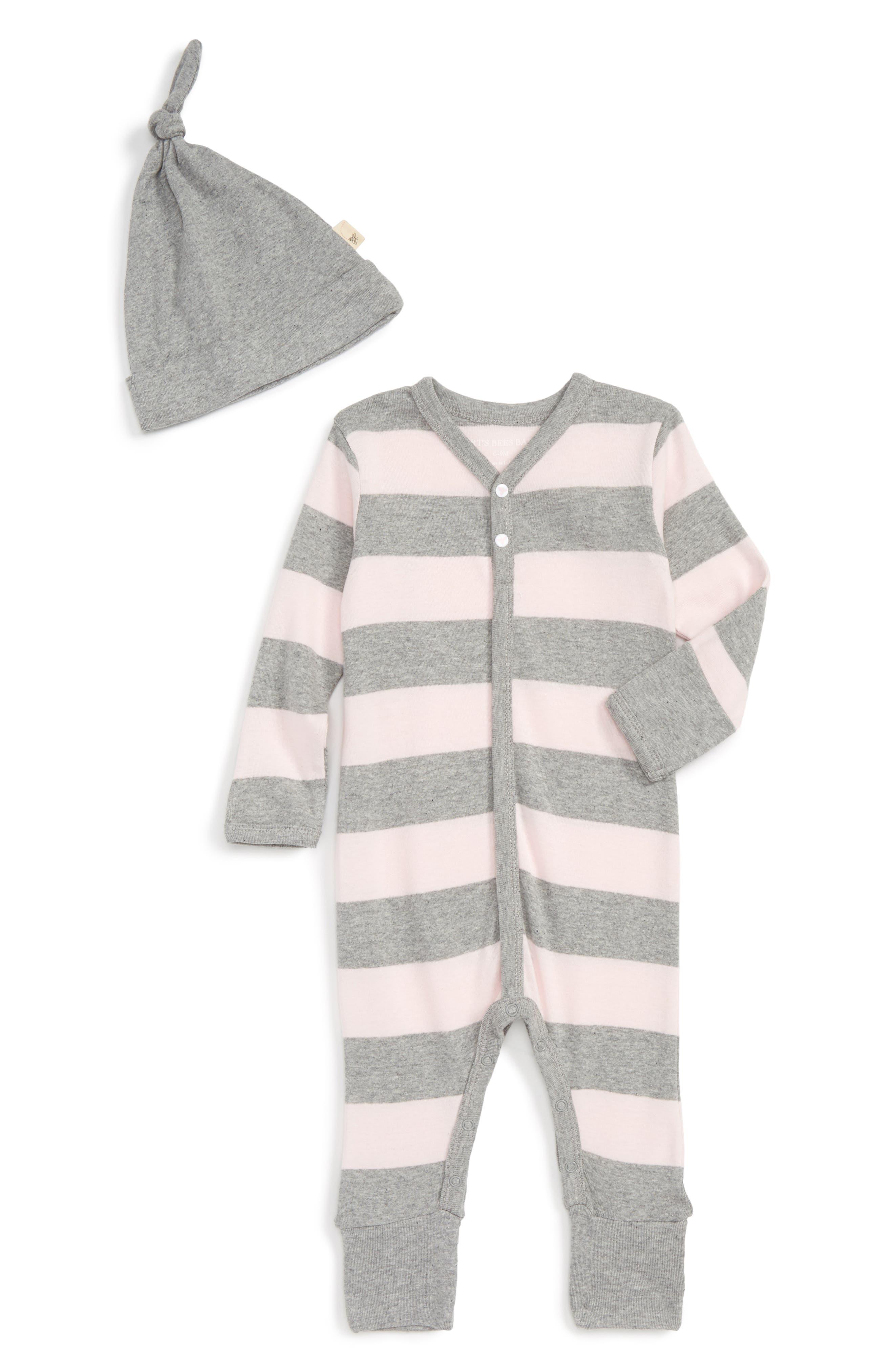 Burt's Bees Baby Stripe Organic Cotton Romper & Hat Set (Baby Girls)