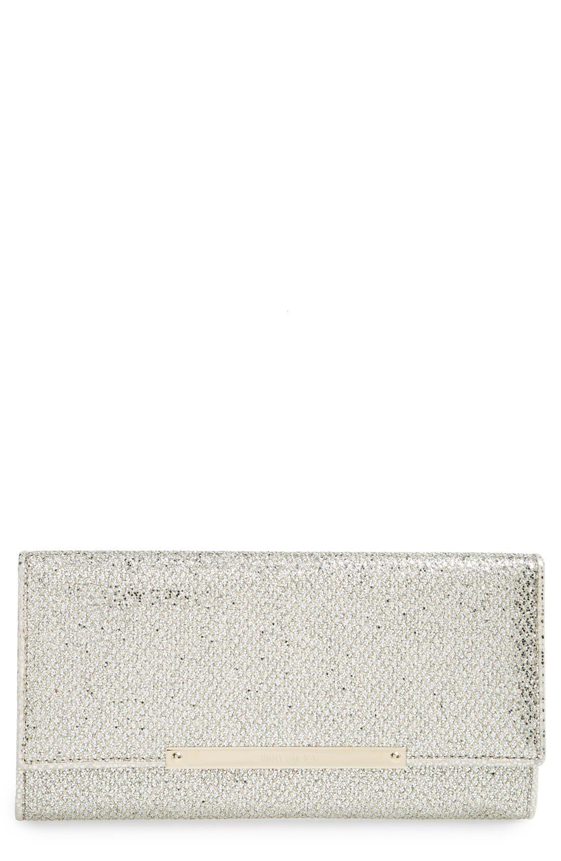 Main Image - Jimmy Choo 'Marilyn' Glitter Leather Clutch