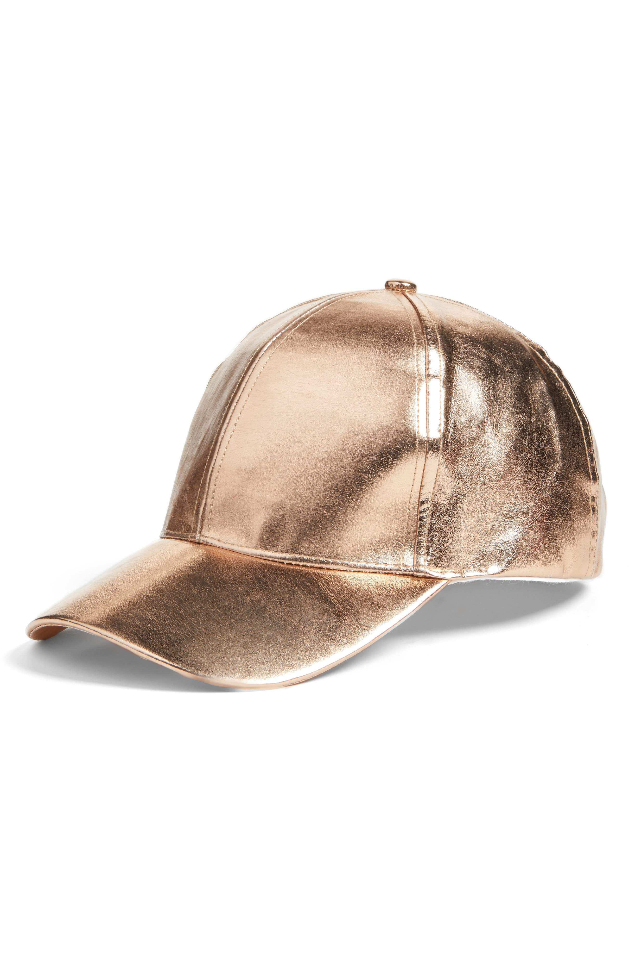 BP. Metallic Faux Leather Baseball Cap