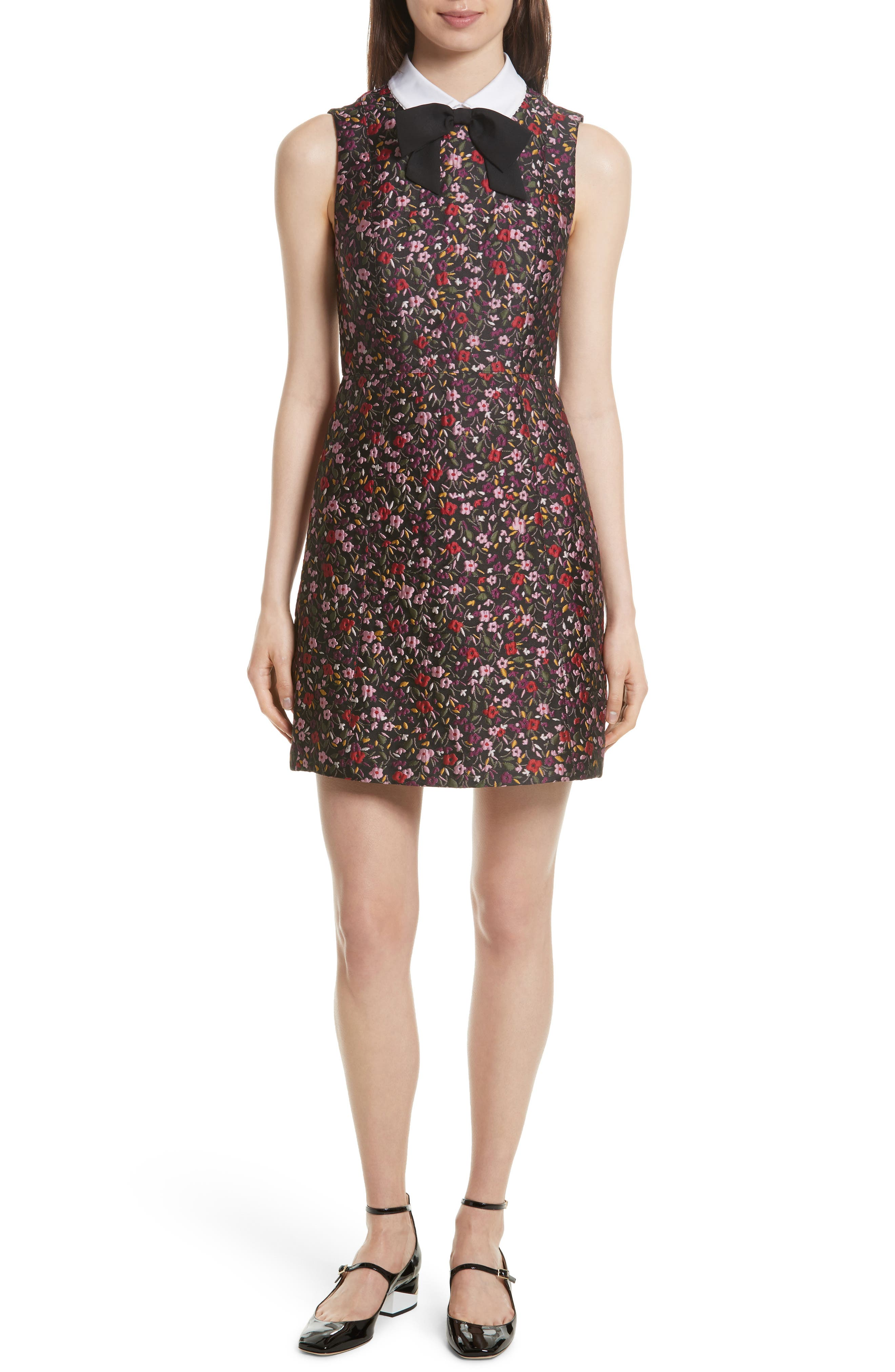 kate spade new york detachable collar floral jacquard dress