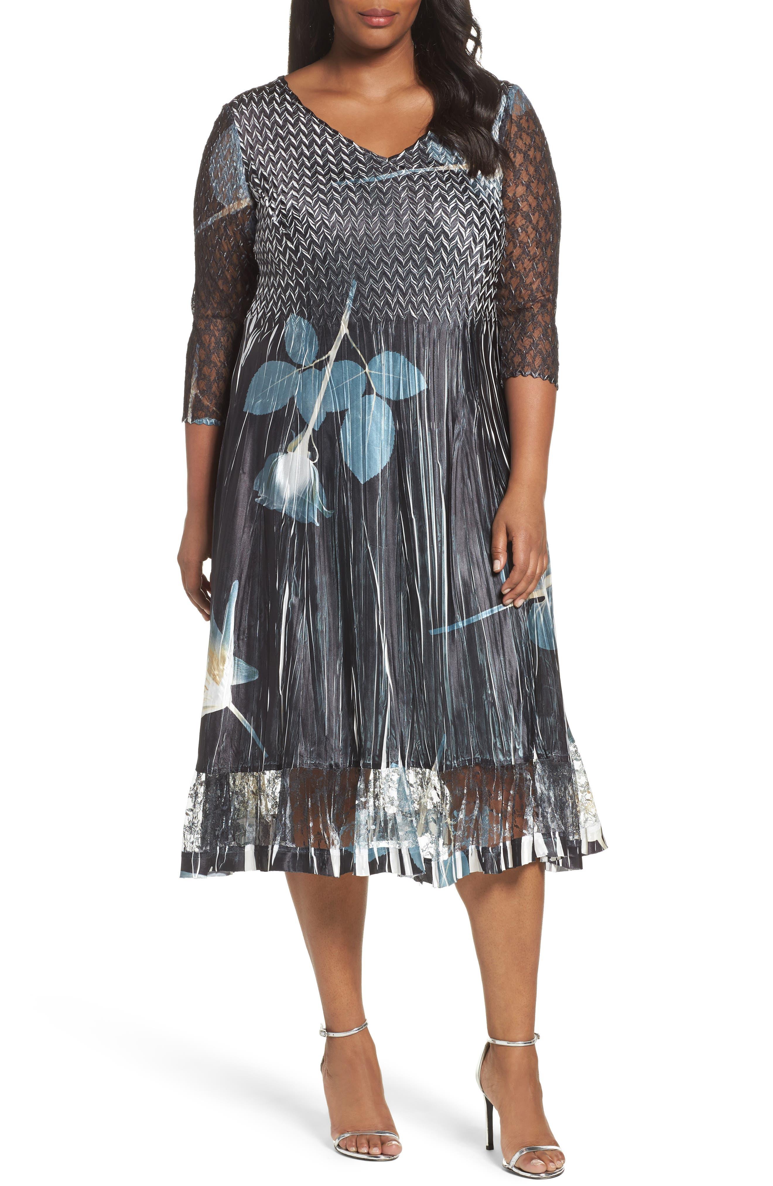 Komarov Print Charmeuse A-Line Dress (Plus Size)