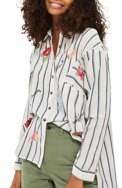 Topshop Floating Floral Embroidered Shirt