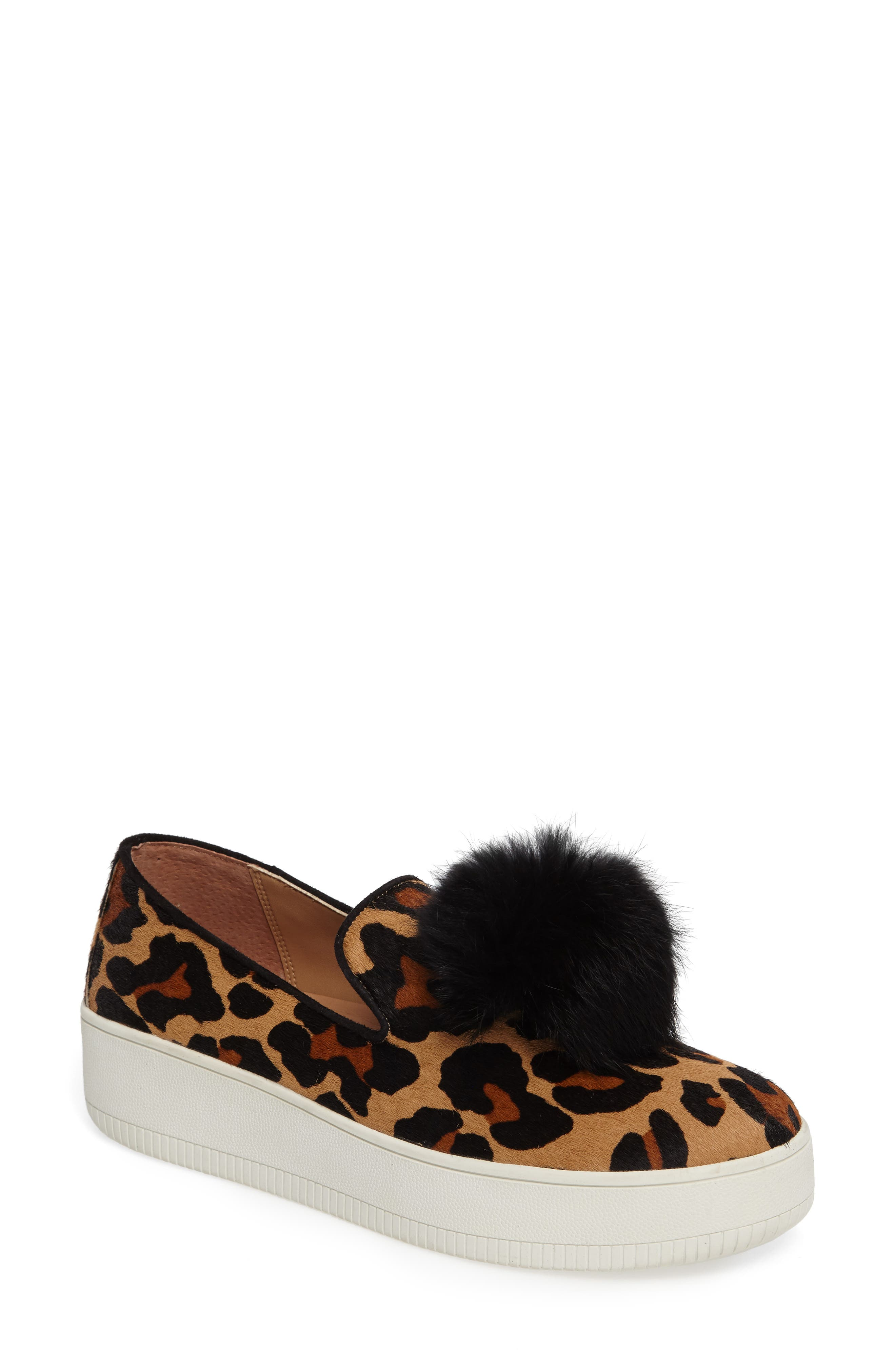 Linea Paolo Sammy II Genuine Calf Hair Platform Sneaker with Genuine Rabbit Fur Trim (Women)