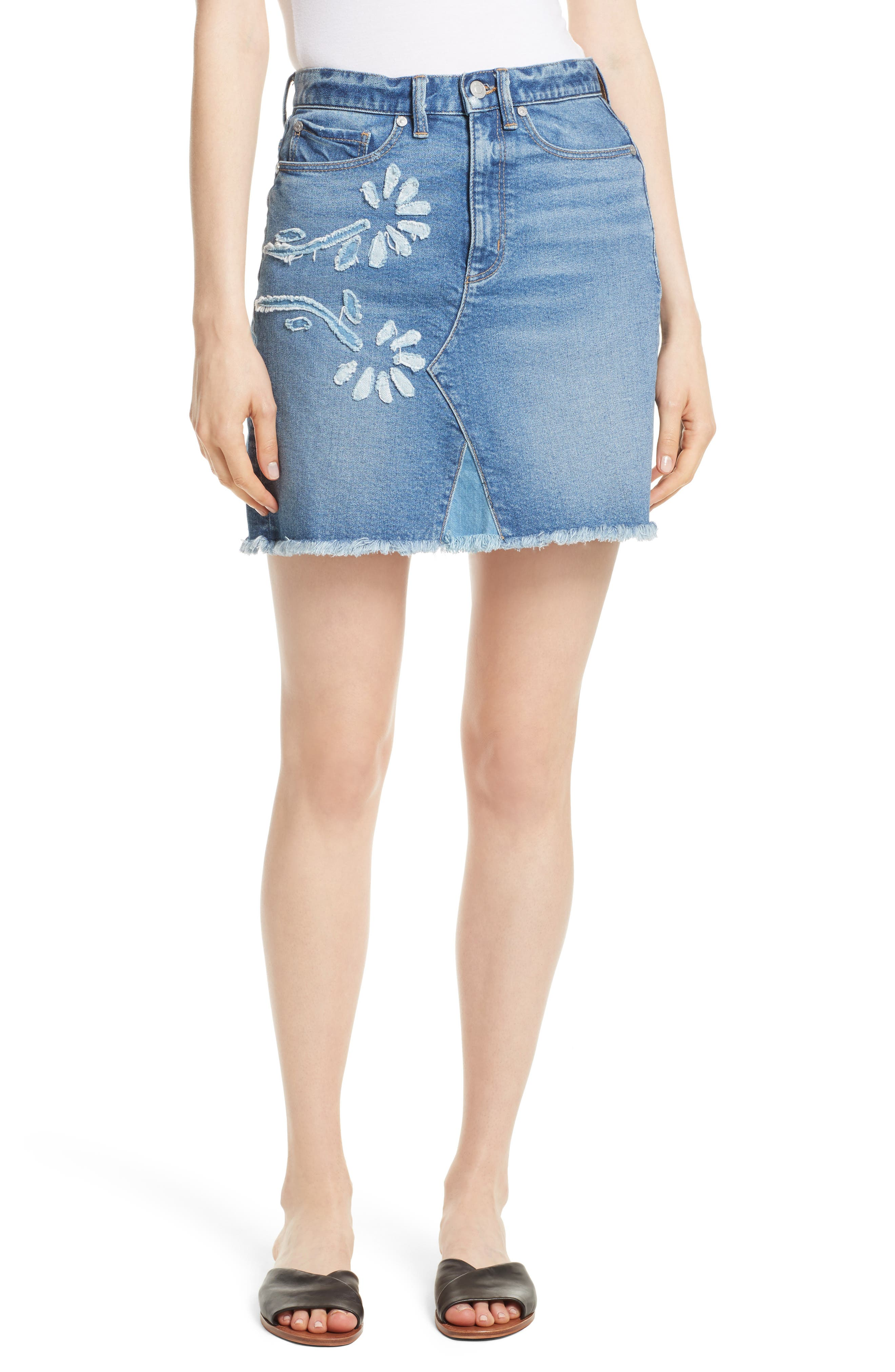 La Vie Rebecca Taylor Floral Patch Denim Miniskirt