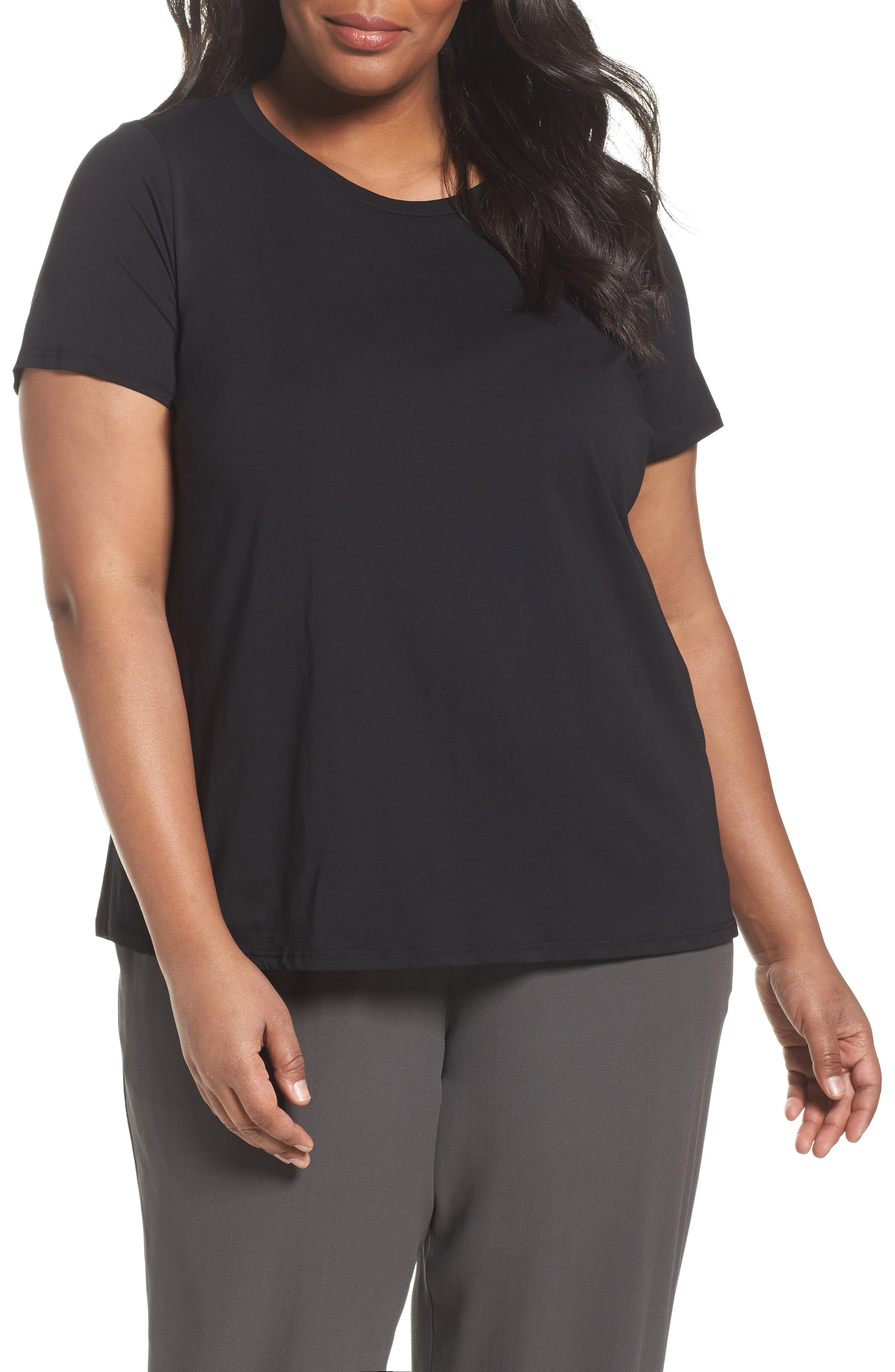 Eileen Fisher Organic Cotton Crewneck Tee (Plus Size)