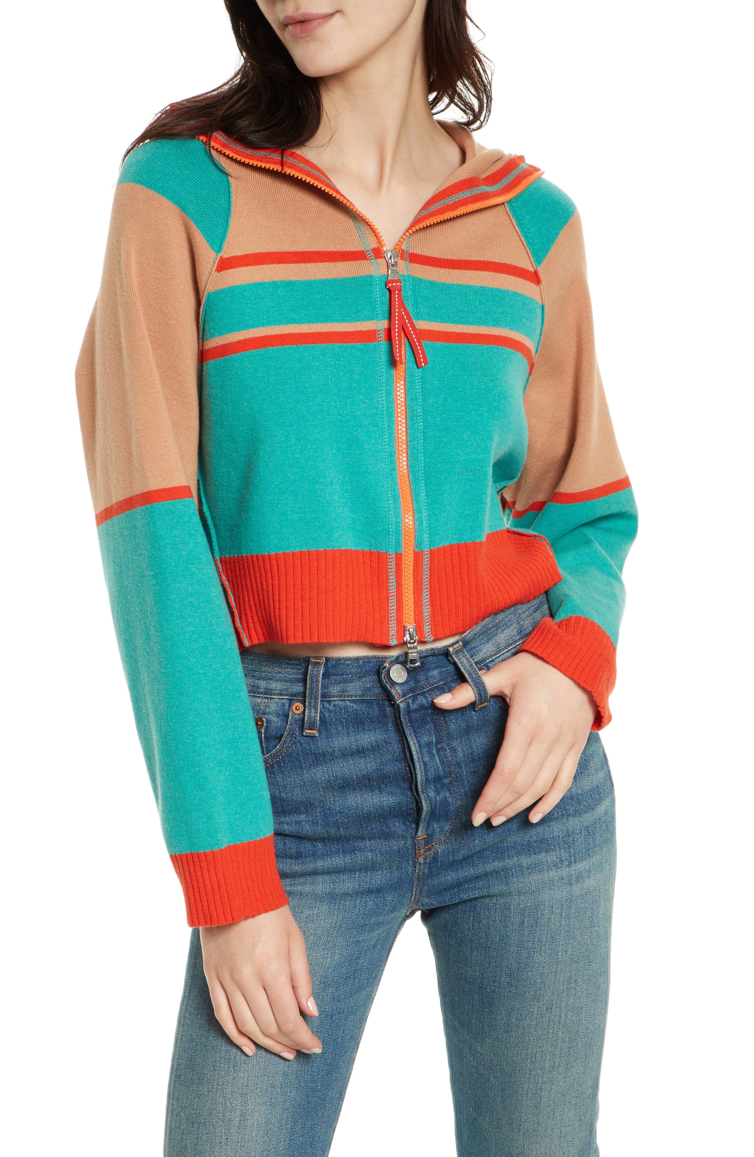 Free People Stripes for Days Zip Hooded Sweater