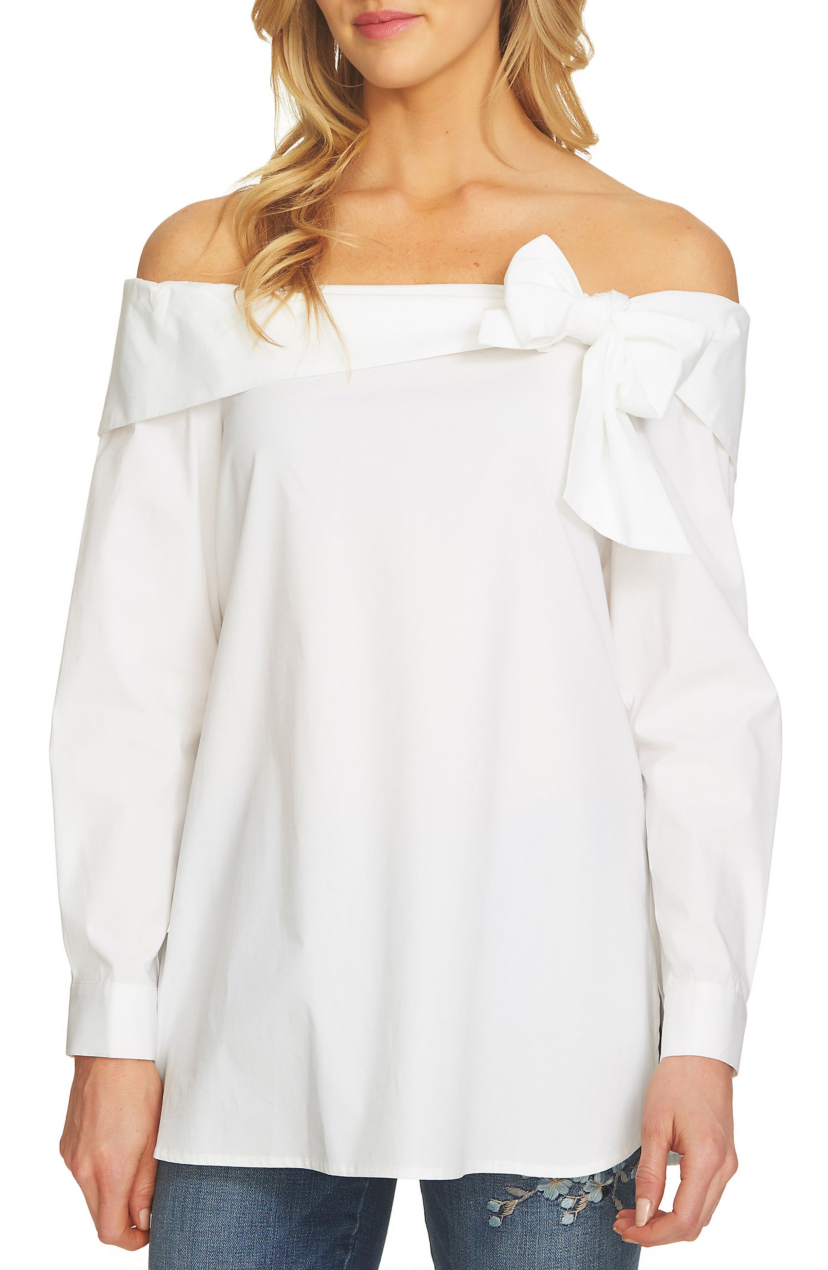 CeCe Off the Shoulder Poplin Top