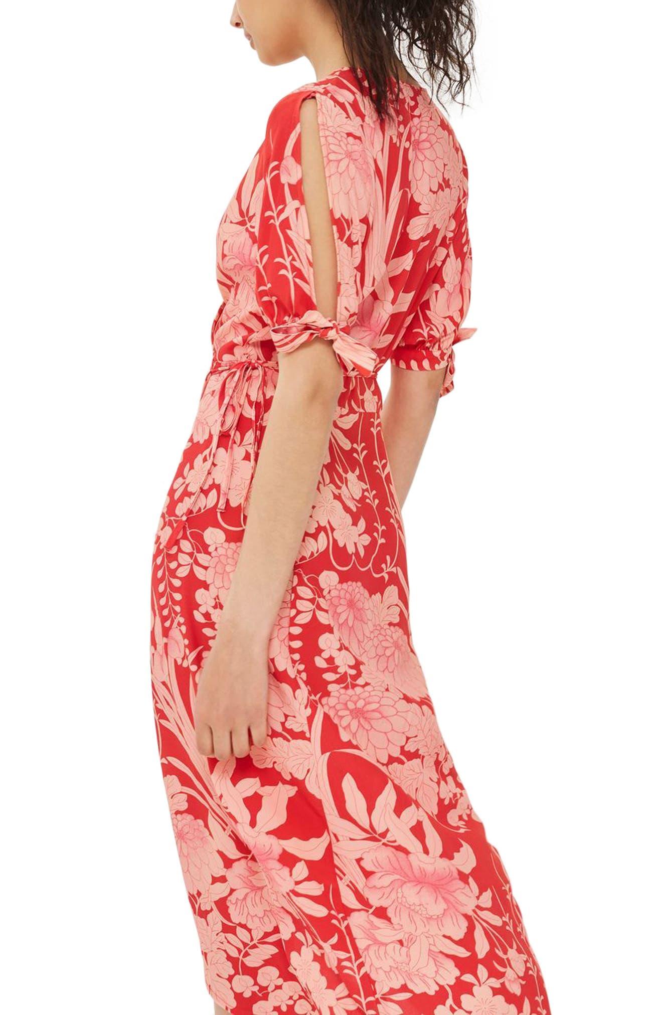 Alternate Image 4  - Topshop Floral Tie Sleeve Wrap Midi Dress