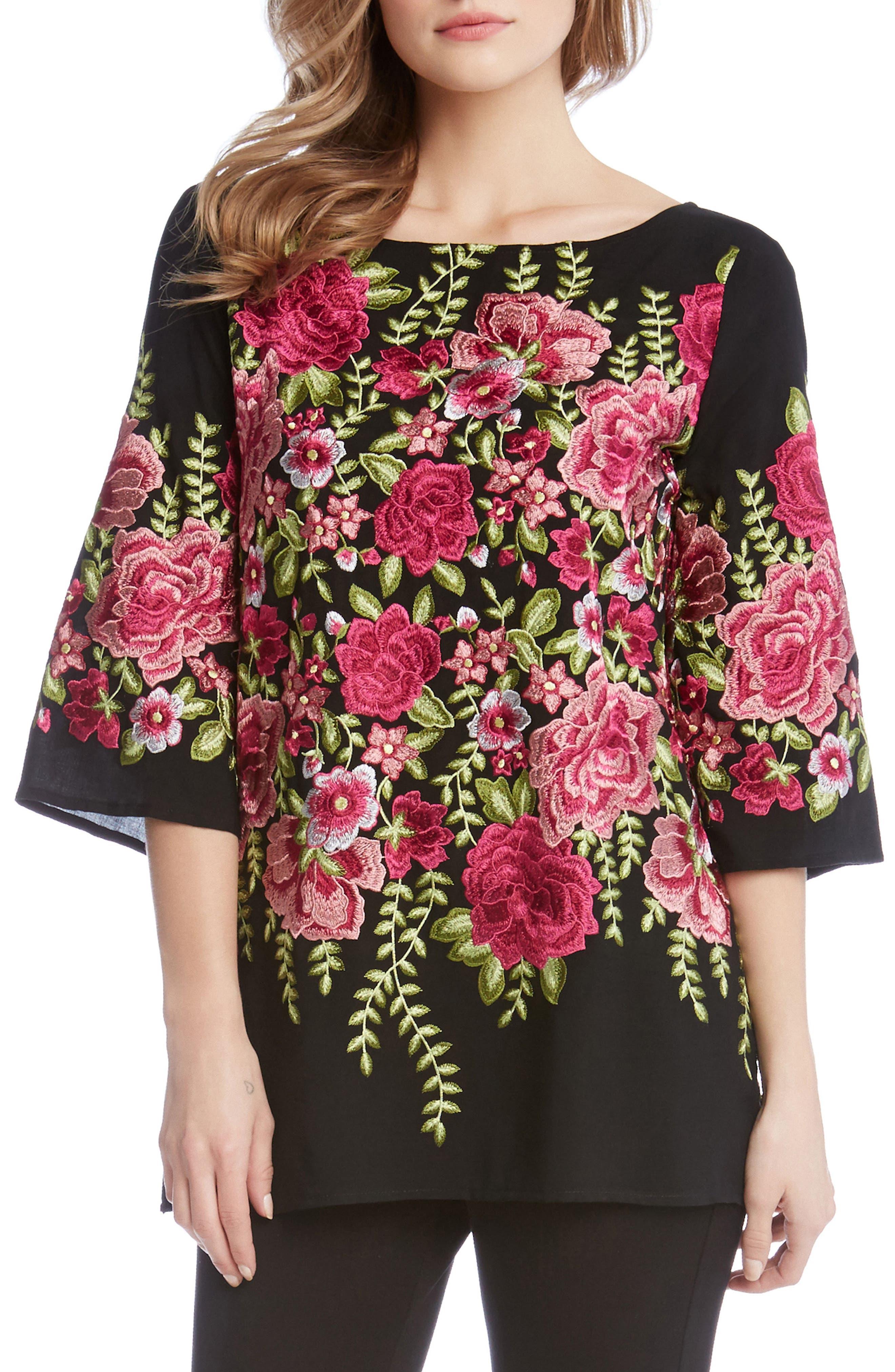 Karen Kane Flower Embroidered Tunic Top