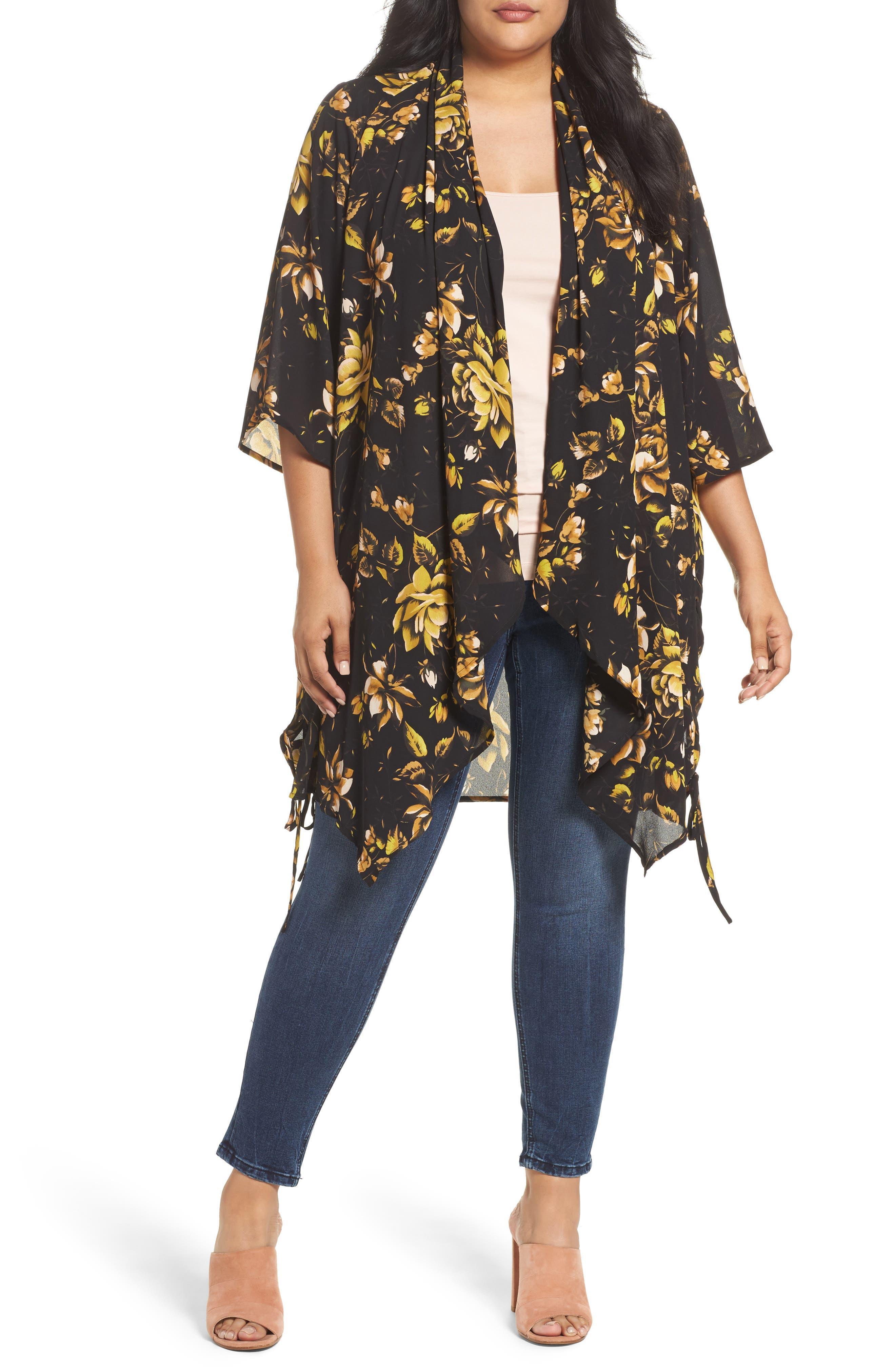 Melissa McCarthy Seven7 Print Kimono Topper (Plus Size)
