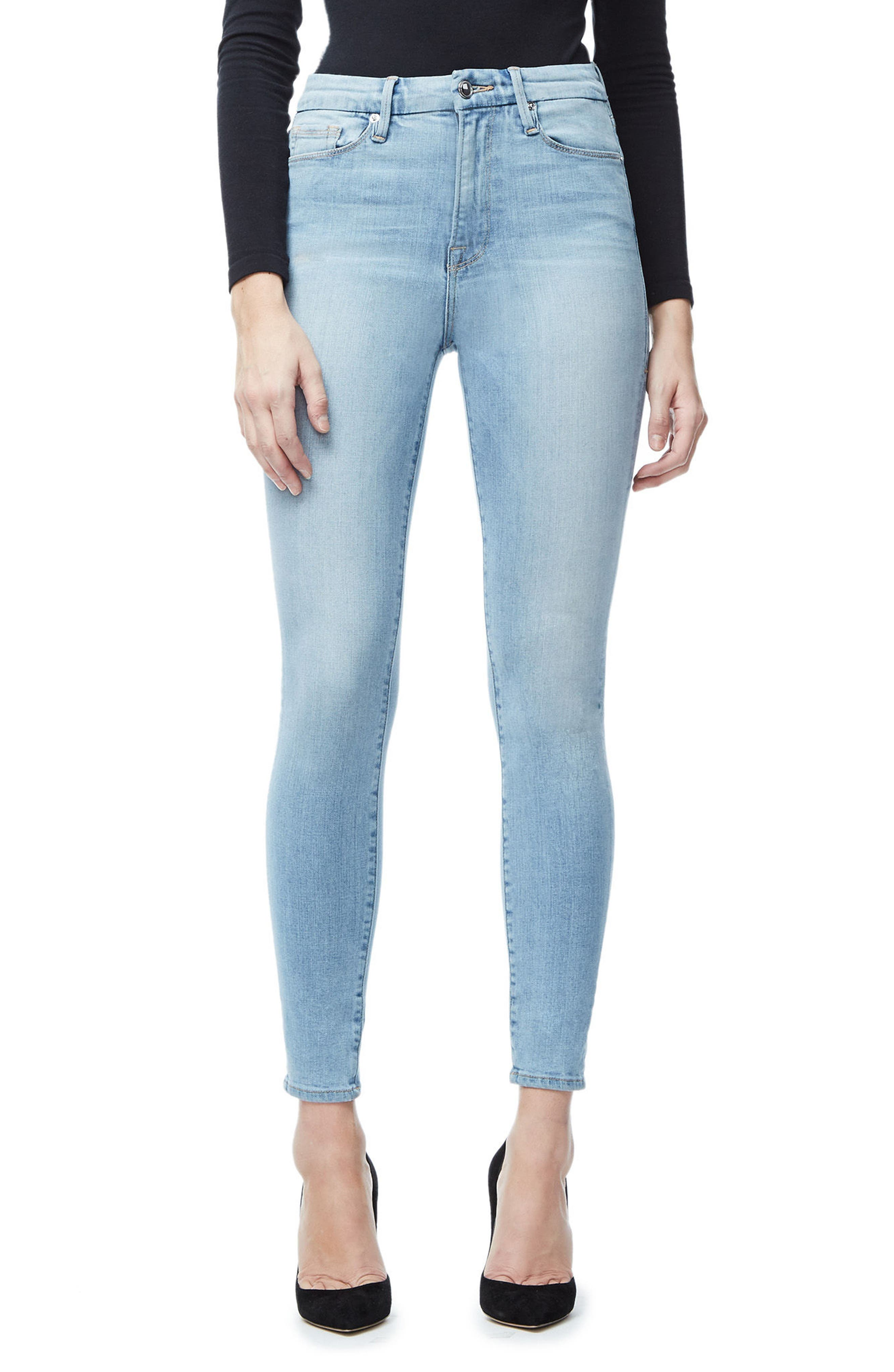 Good American Good Waist High Waist Crop Skinny Jeans (Blue 027)