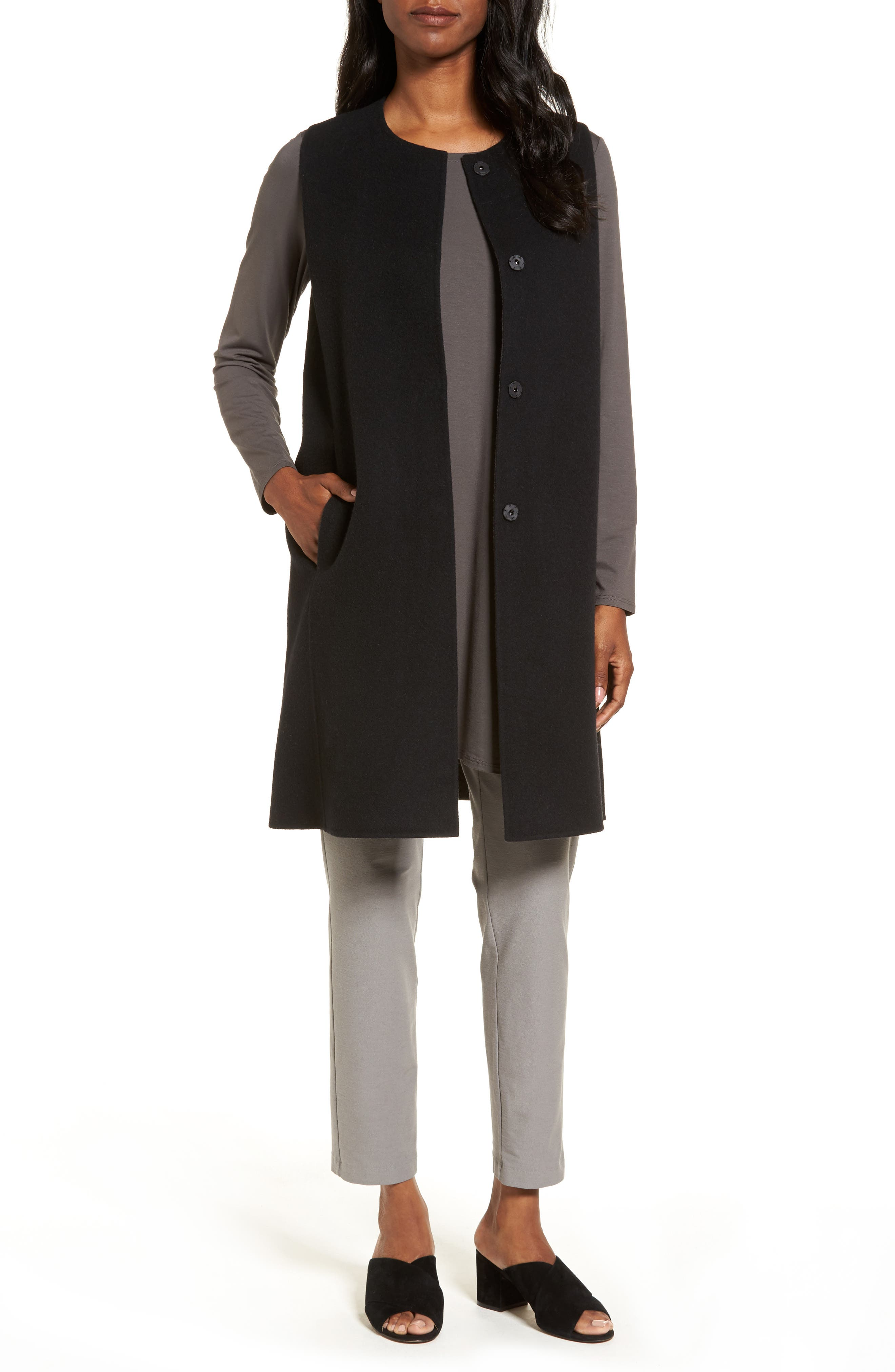 Eileen Fisher Long Wool Blend Vest