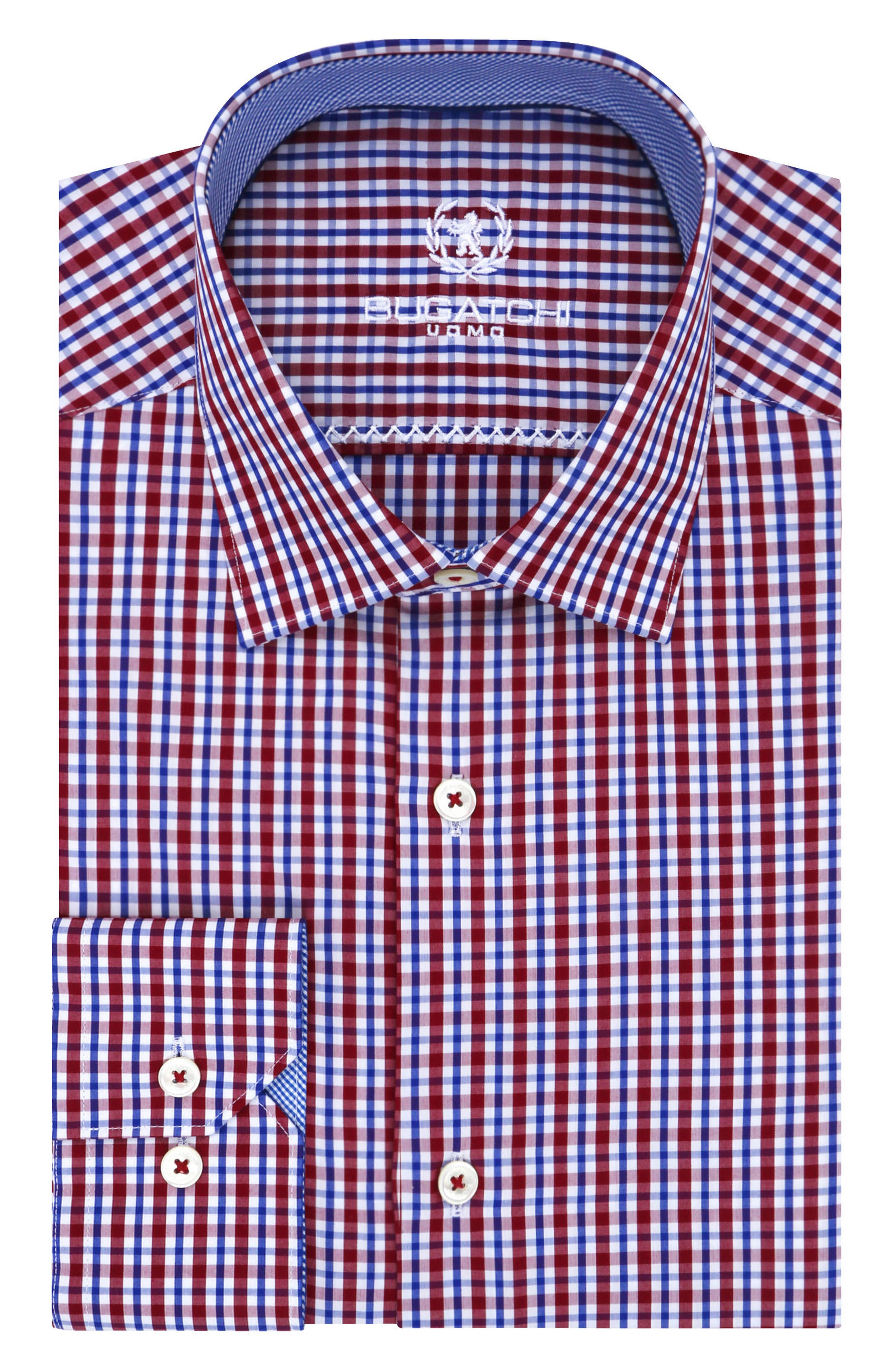 Bugatchi Trim Fit Plaid Dress Shirt (Regular & Big)