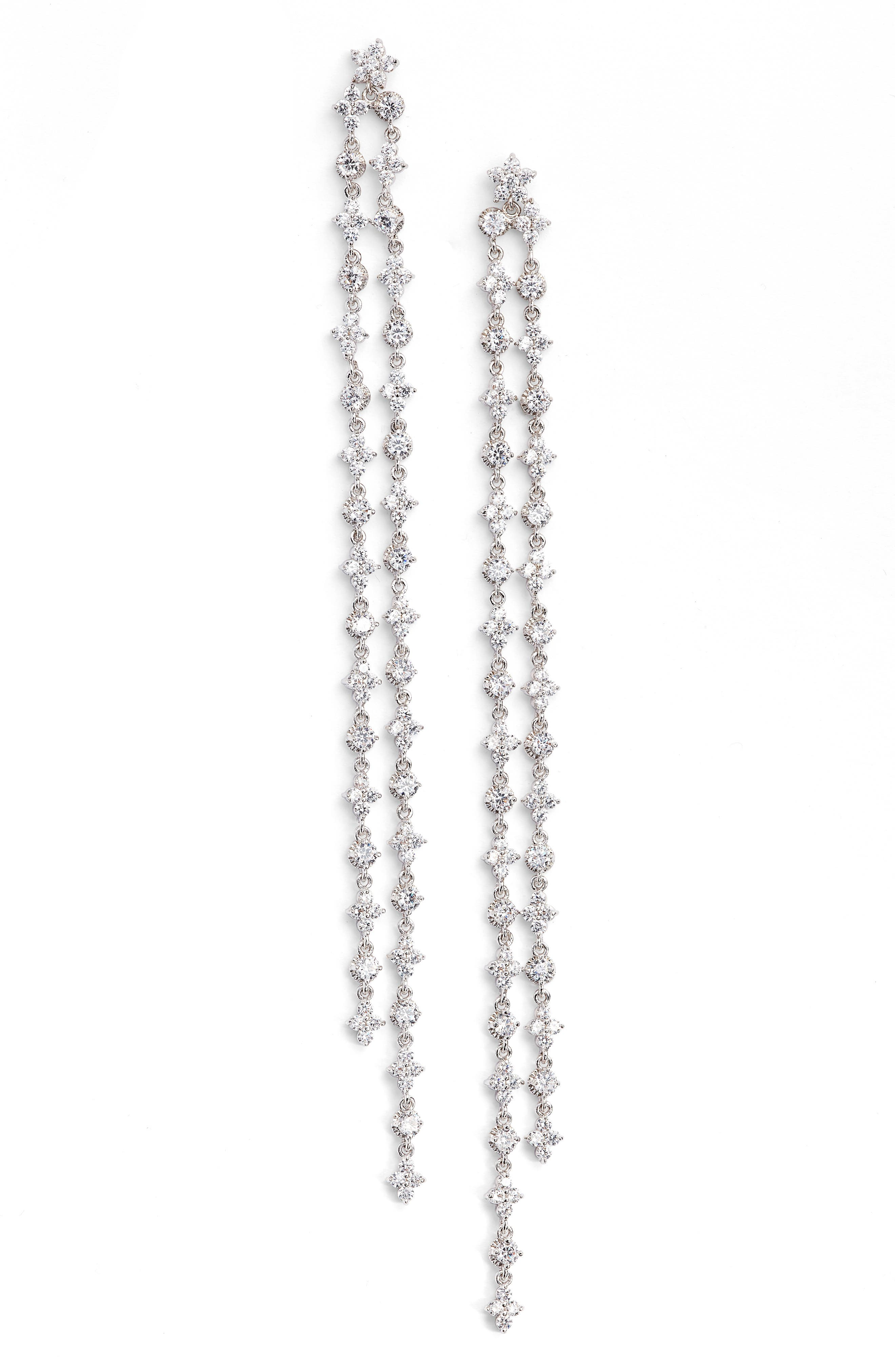 CZ by Kenneth Jay Lane Extra Long Linear Earrings