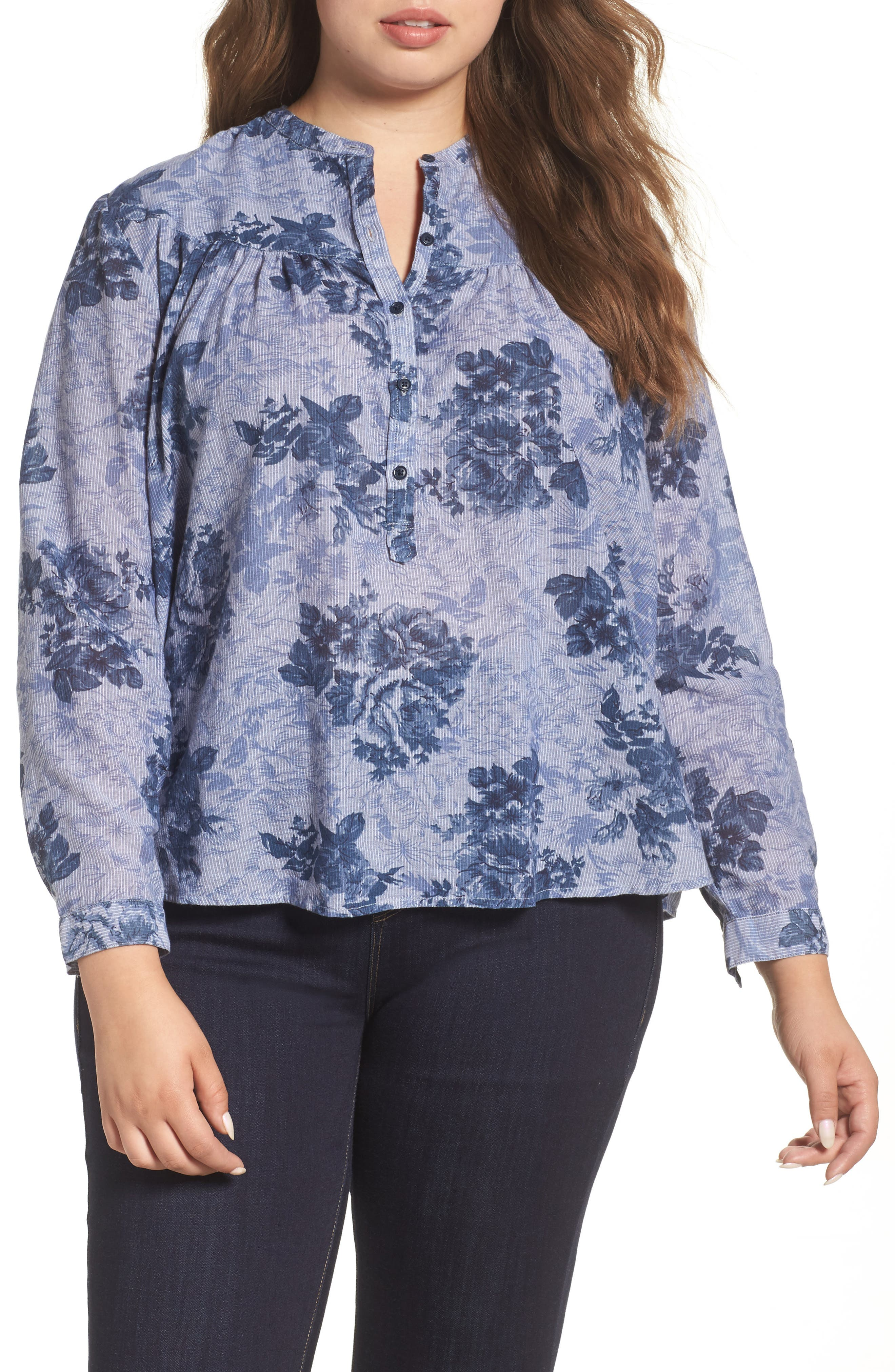 Lucky Brand Floral Chambray Shirt (Plus Size)
