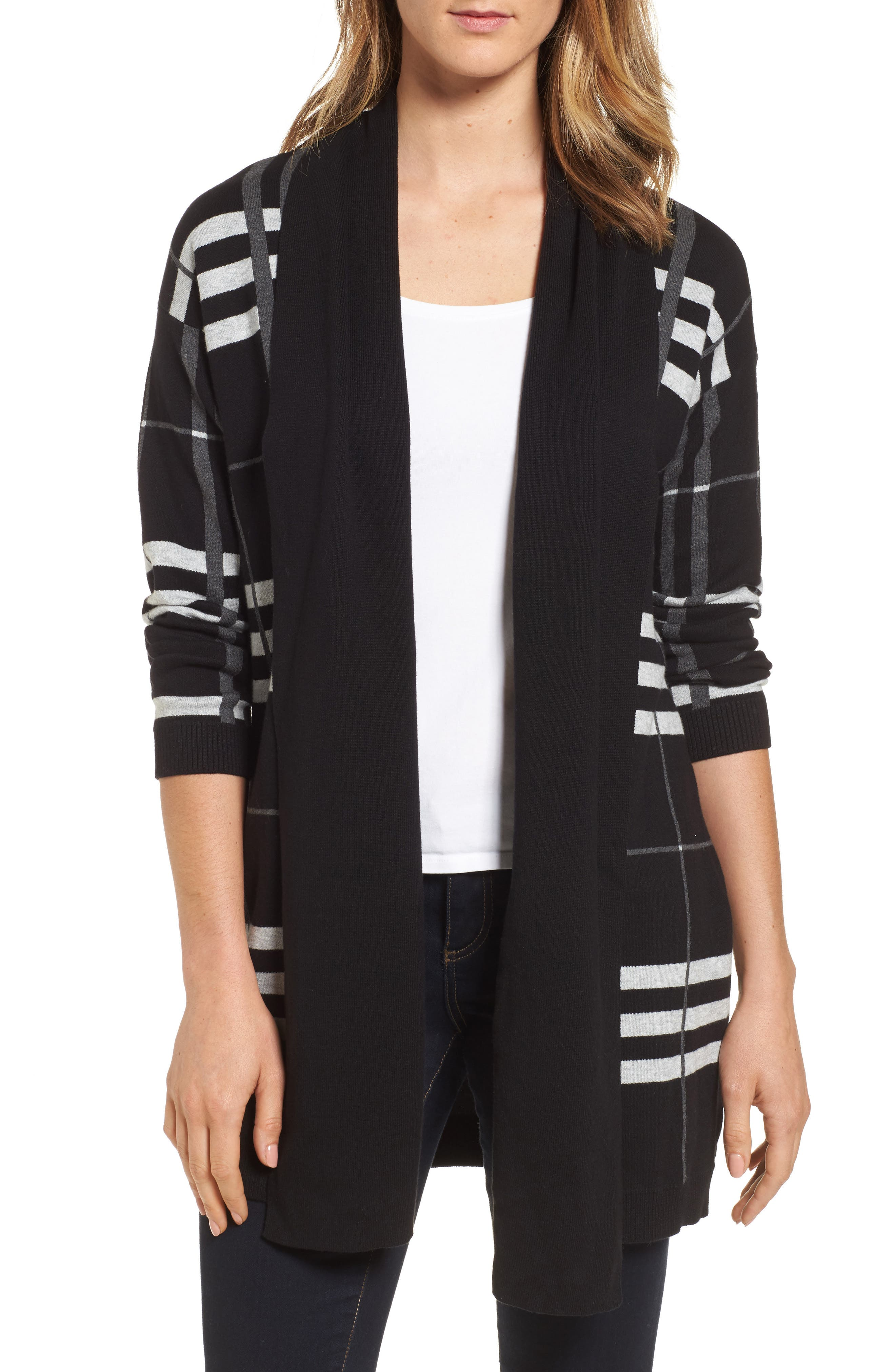 Chaus Plaid Cotton Cardigan