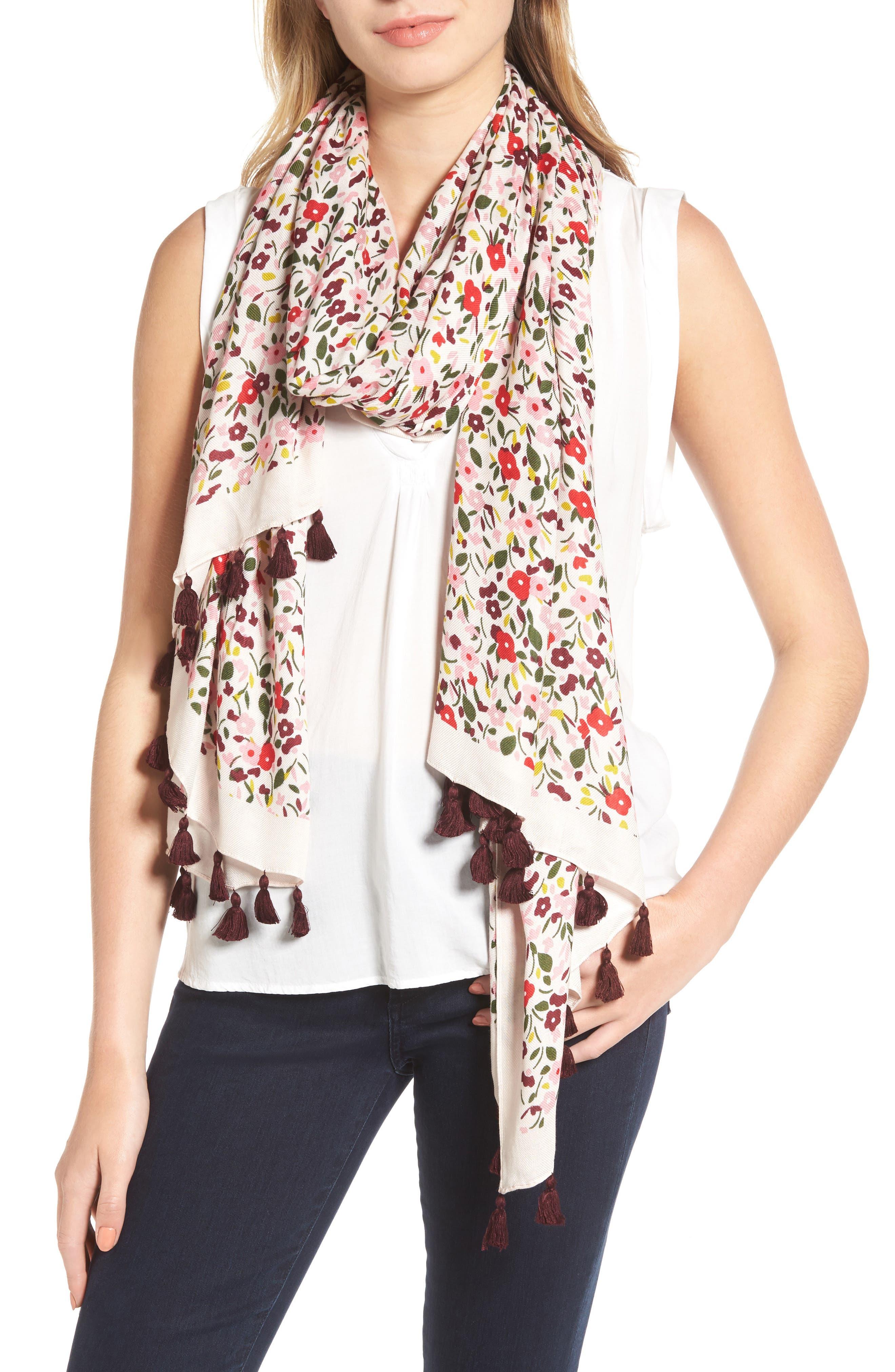kate spade new york floral tassel oblong scarf