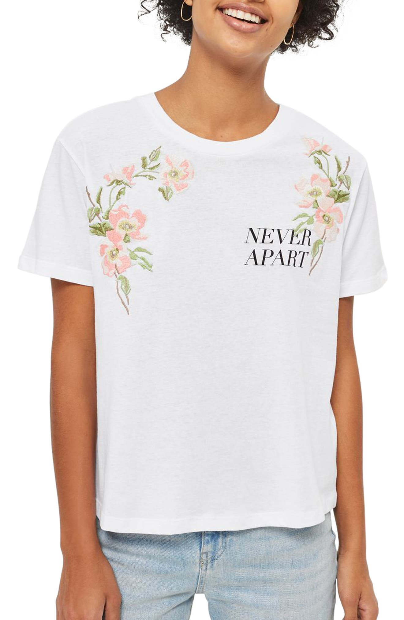 Topshop Never Apart Lace-Up Back Embroidered Tee