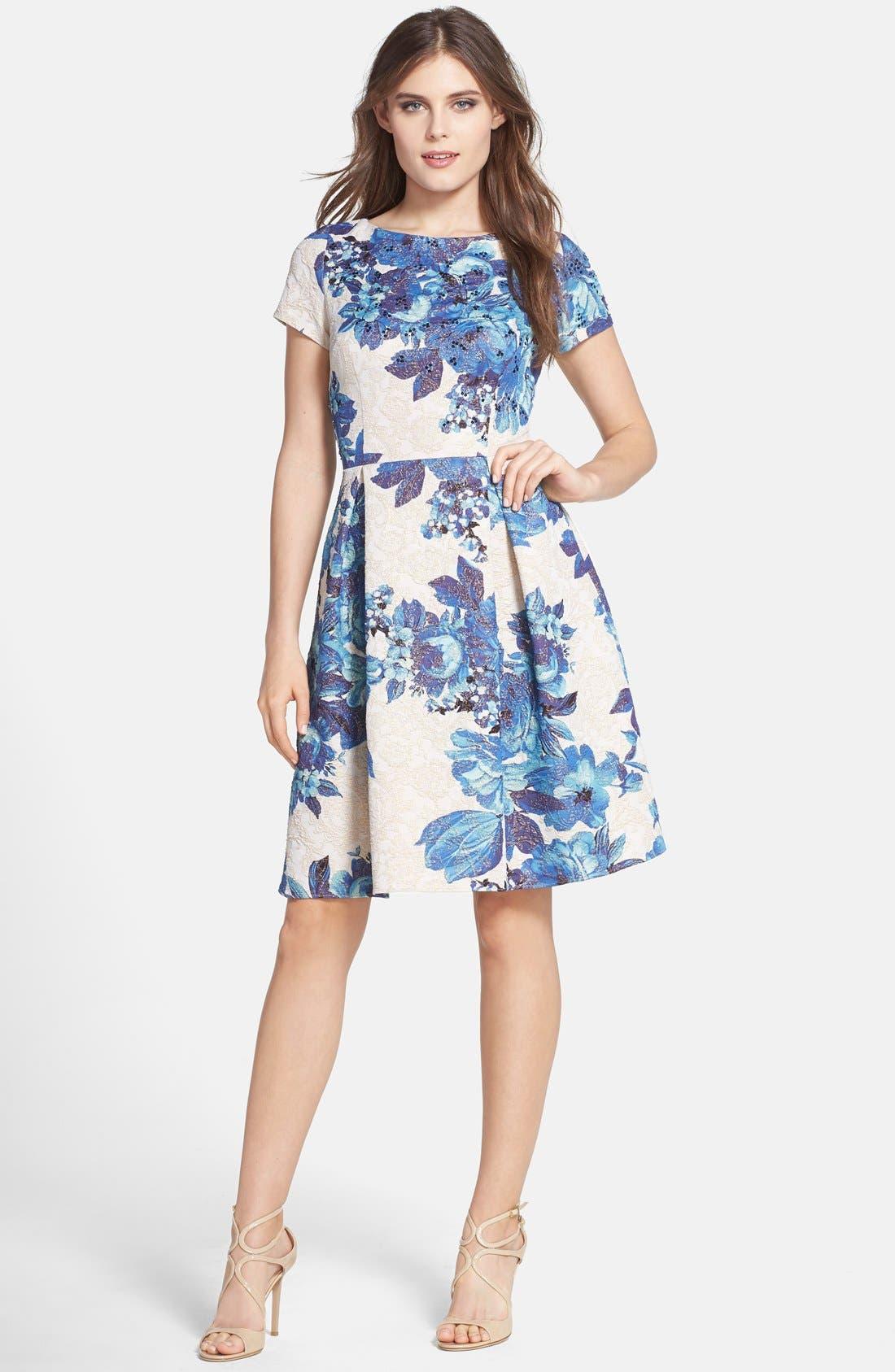 Alternate Image 3  - Adrianna Papell Floral Matelassé Fit & Flare Dress