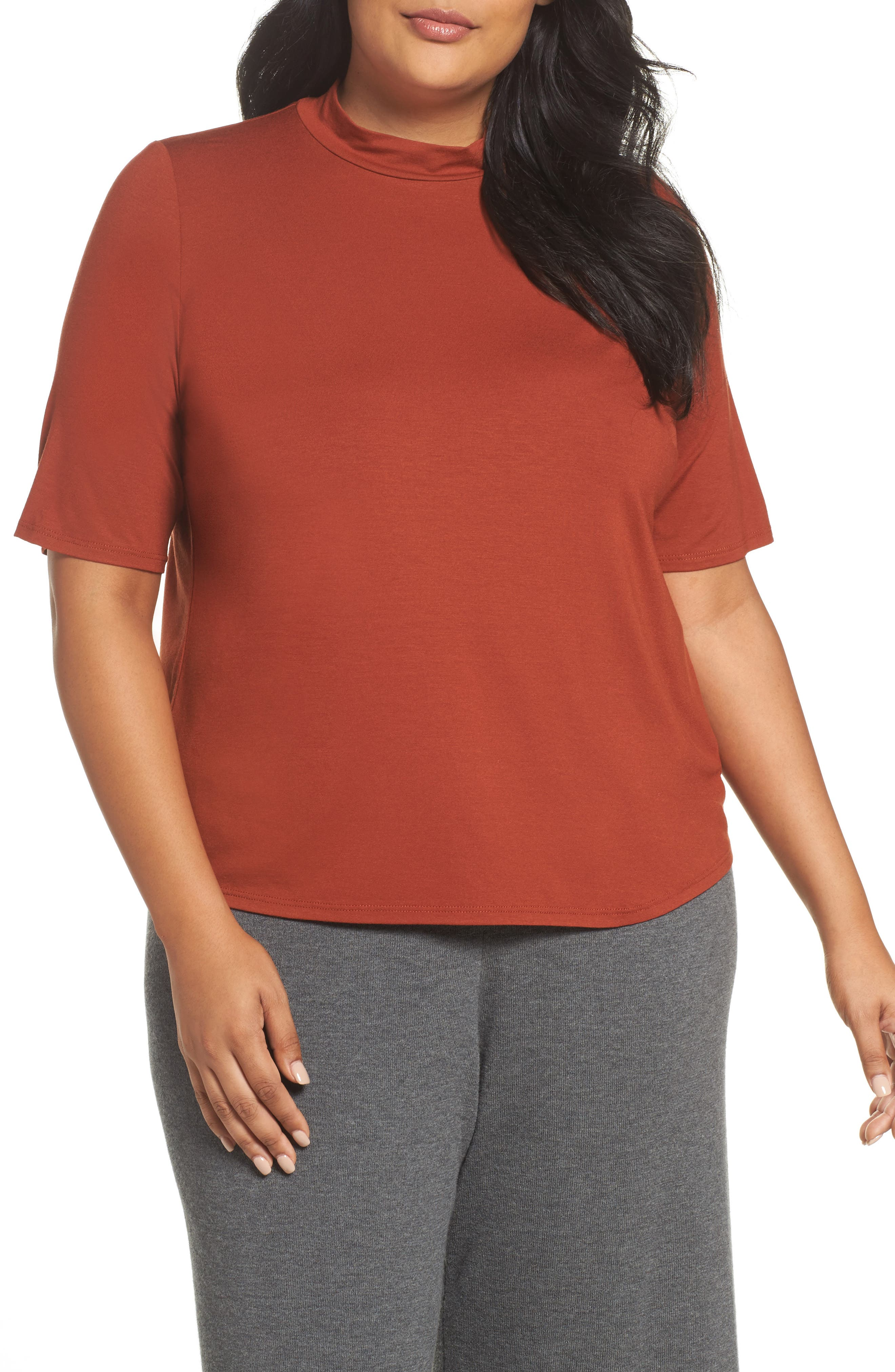 Eileen Fisher Mock Neck Tee (Plus Size)
