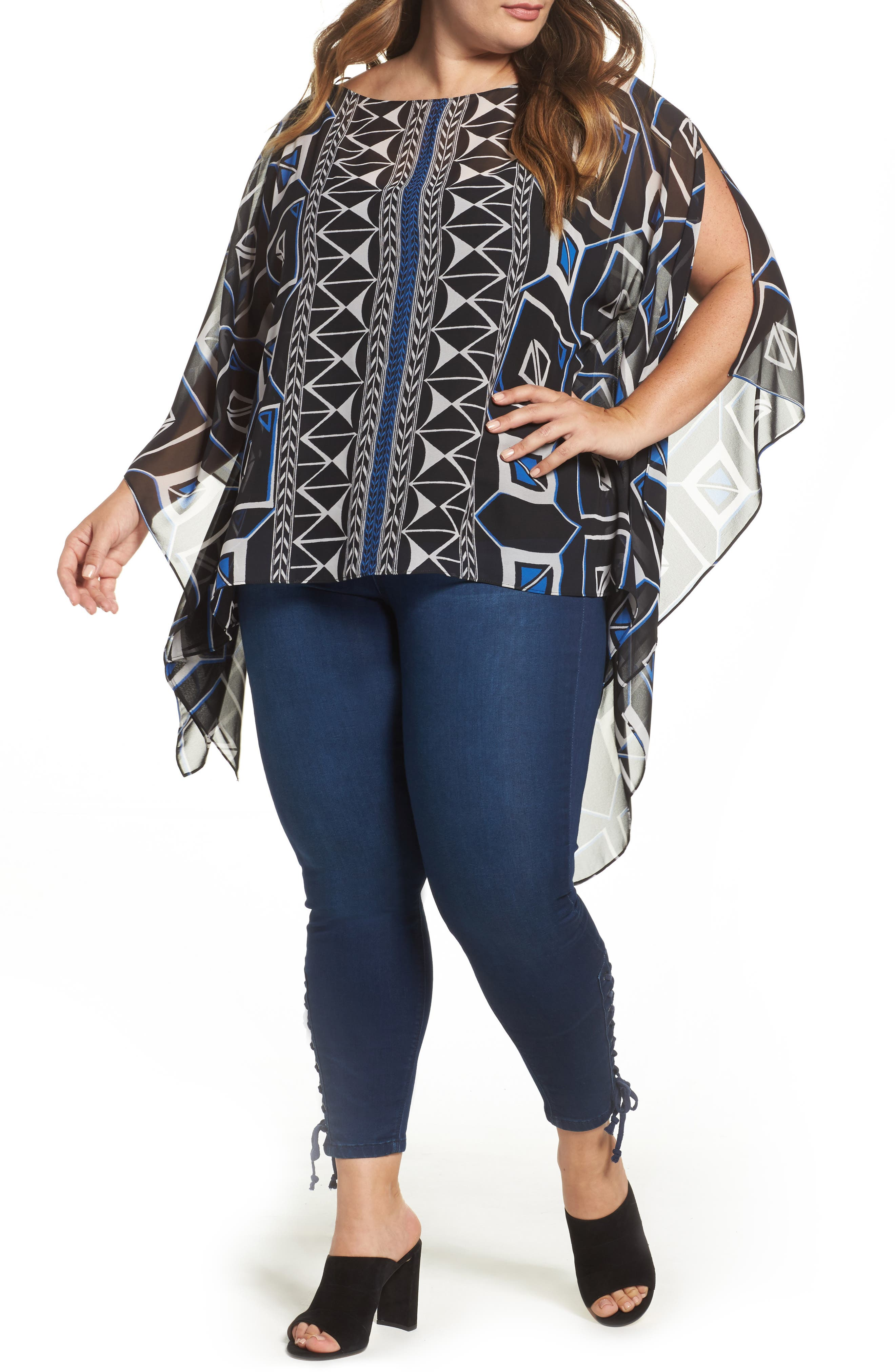 Vince Camuto Graphic Poncho Top (Plus Size)