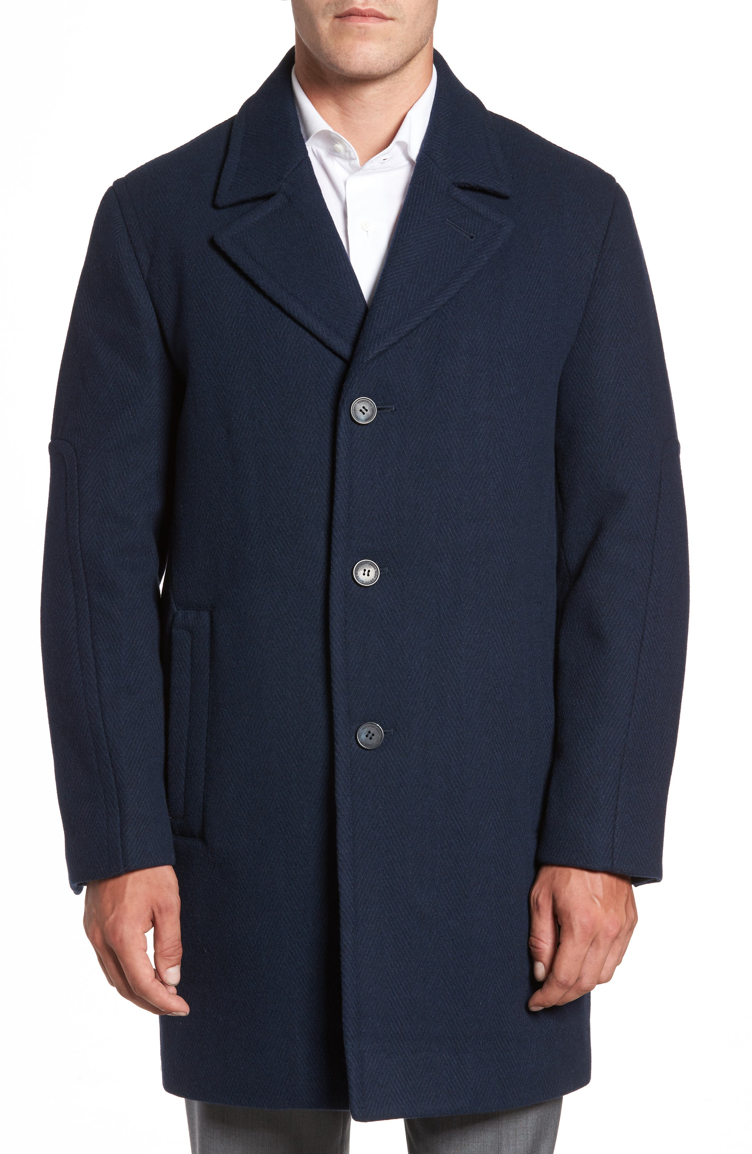 Marc New York Herringbone Wool Blend Car Coat
