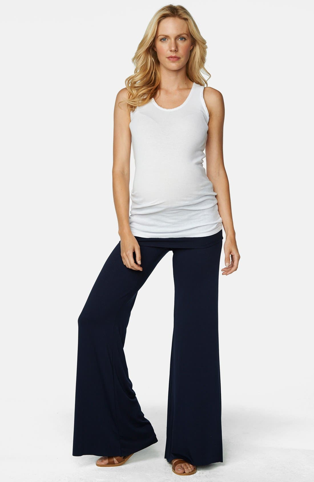 MATERNAL AMERICA Knit Flare Leg Maternity Pants