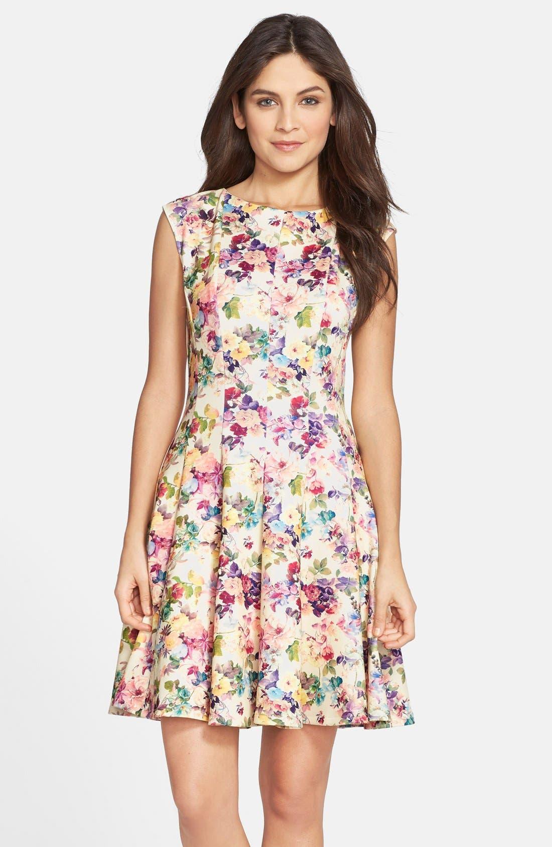 Main Image - Gabby Skye Floral Print Scuba Fit & Flare Dress