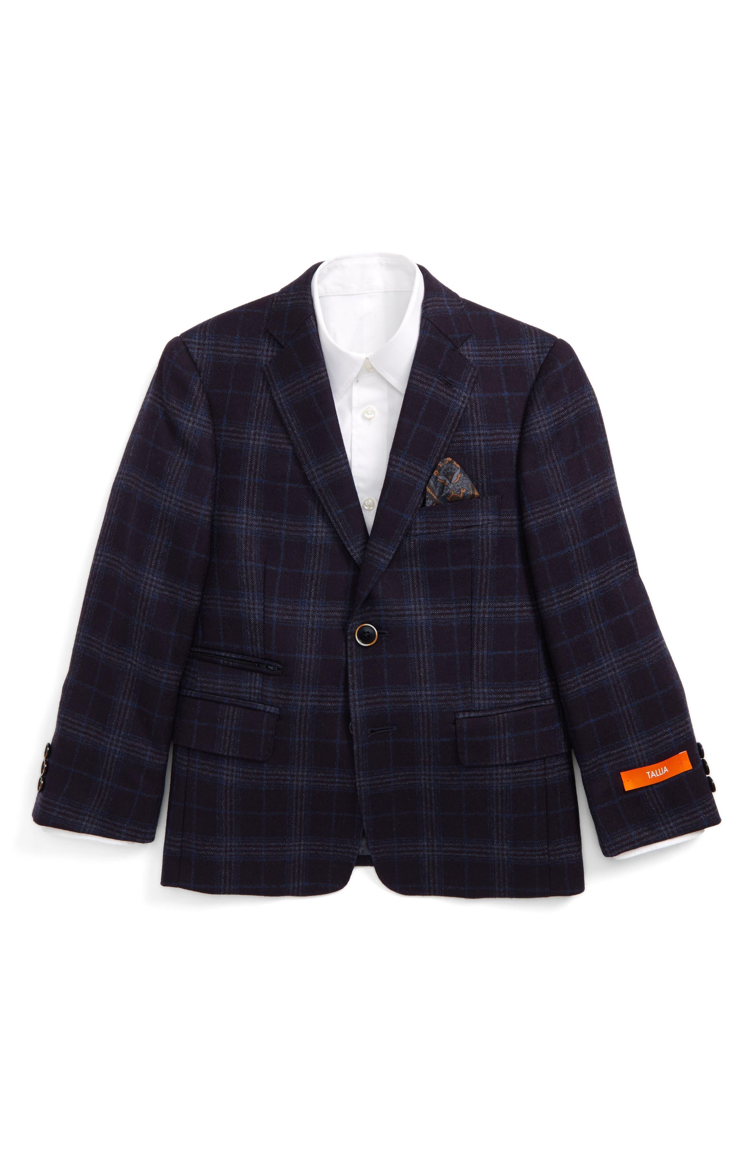 Tallia Windowpane Check Sport Coat (Big Boys)
