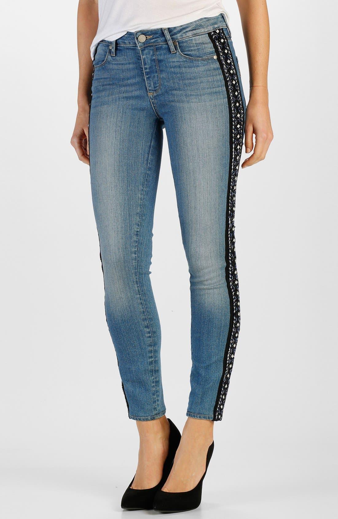 Main Image - Paige Denim 'Verdugo' Ankle Ultra Skinny Jeans (Paulina Tux Embellished)