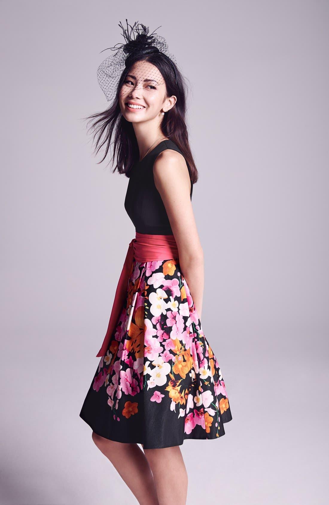 Alternate Image 5  - Eliza J Floral Print Faille Fit & Flare Dress (Regular & Petite)