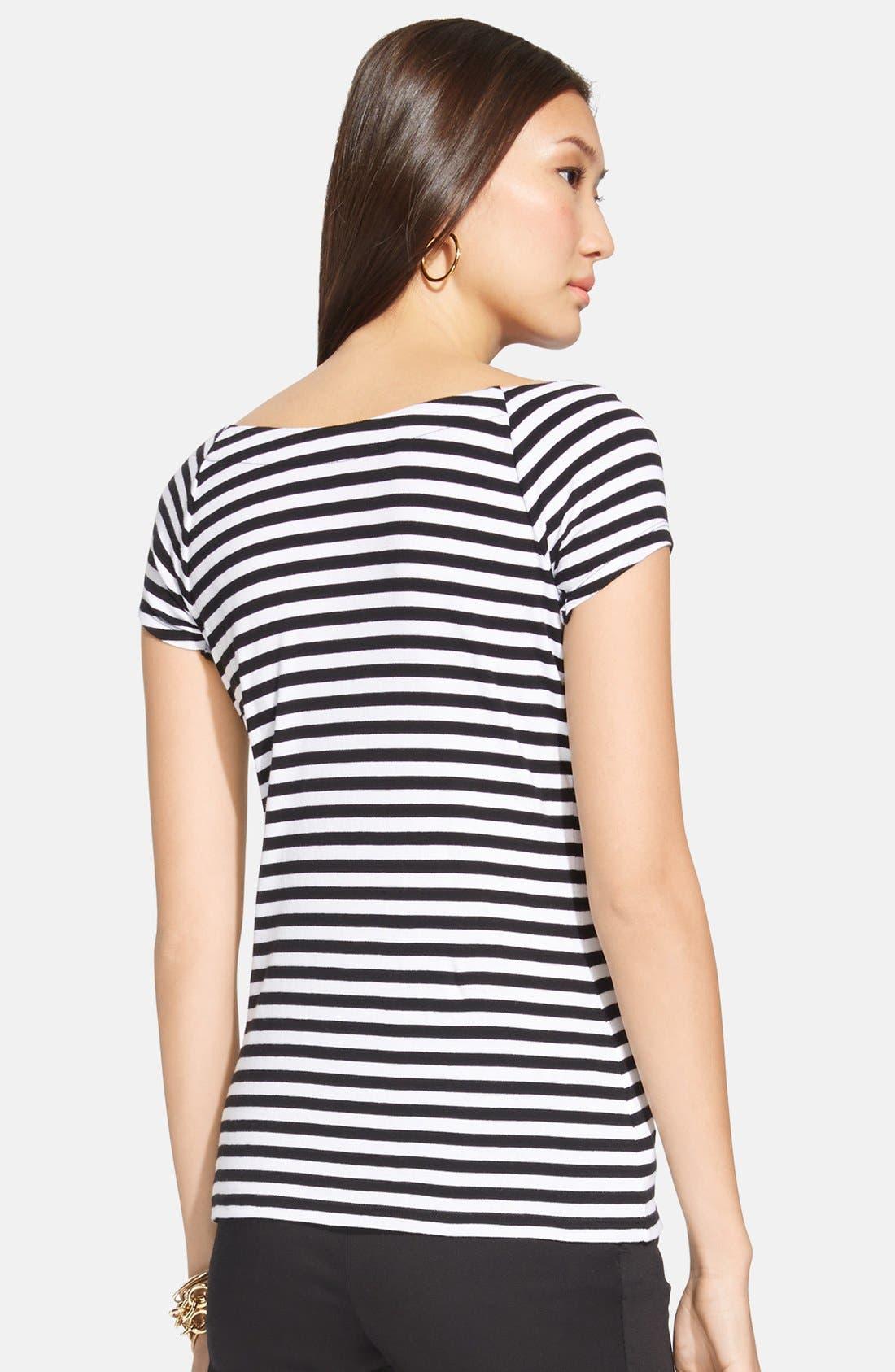 Alternate Image 2  - Lauren Ralph Lauren Stripe Cap Sleeve Top (Regular & Petite)